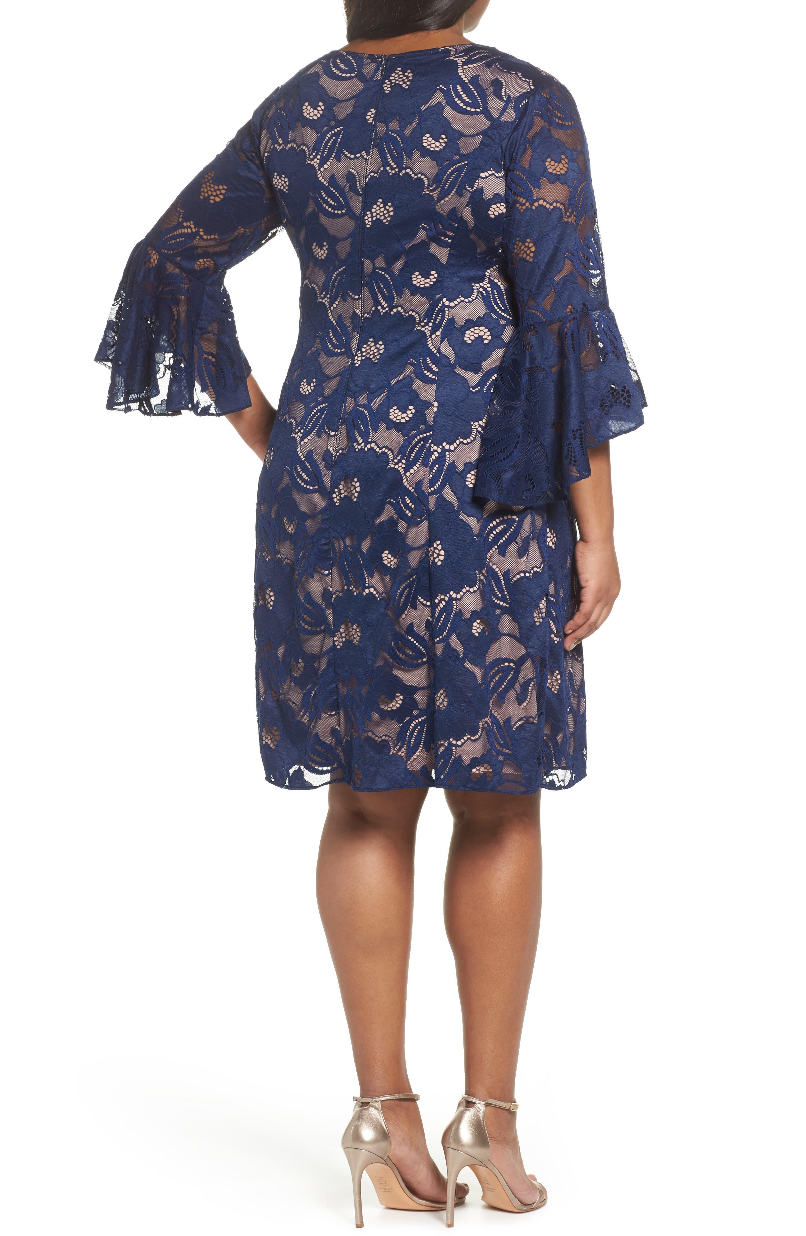 Ruffle Sleeve Lace Dress,                             Alternate thumbnail 2, color,                             412