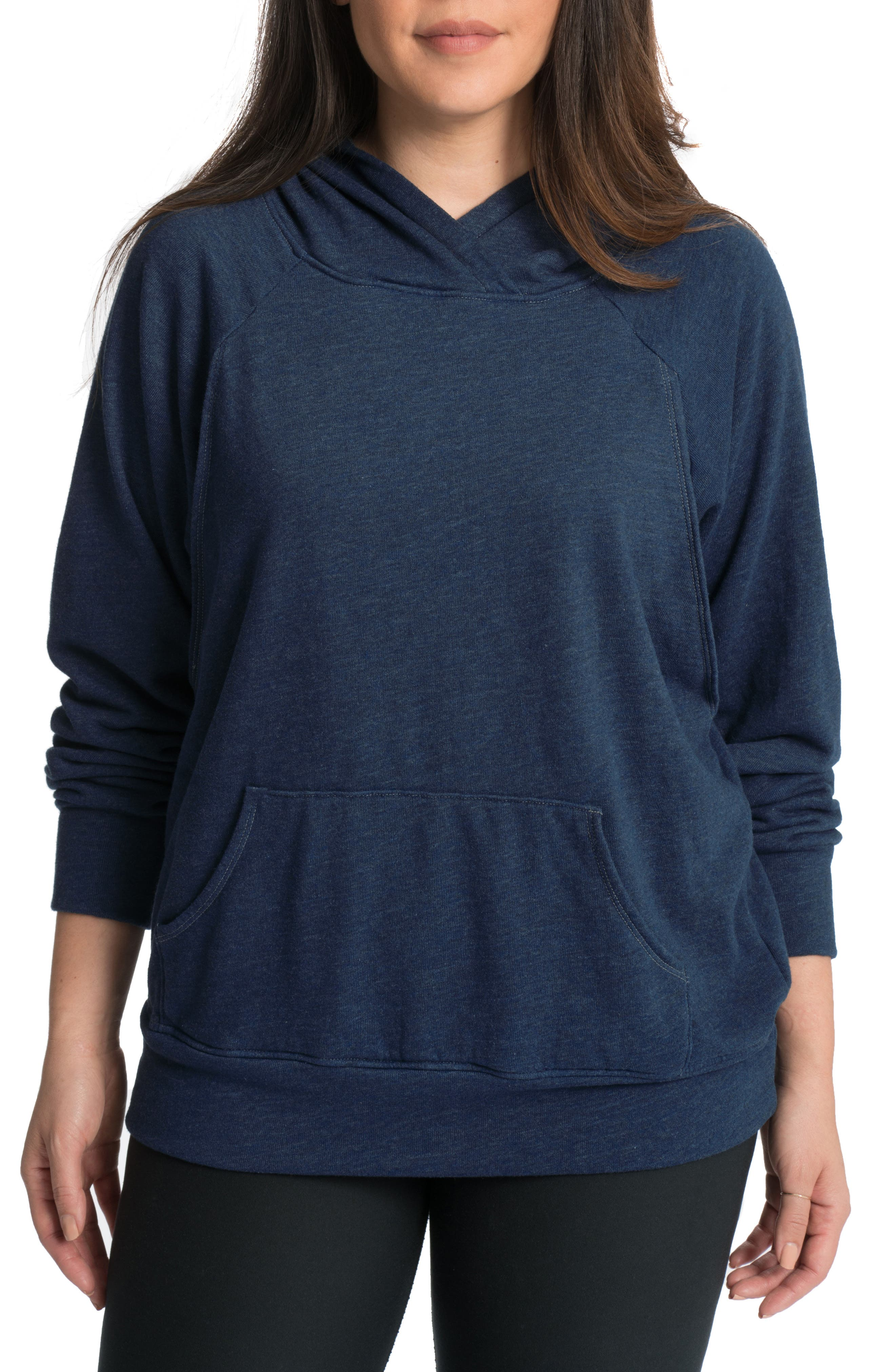 Relaxed Daily Maternity Nursing Hoodie,                             Main thumbnail 1, color,                             NAVY