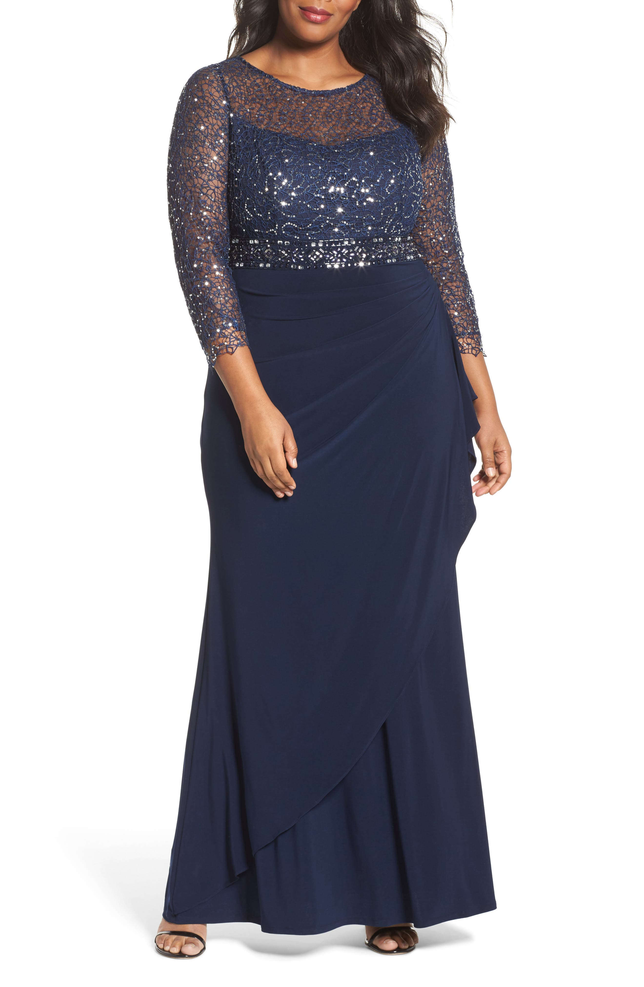 Lace & Jersey Gown,                         Main,                         color, NAVY