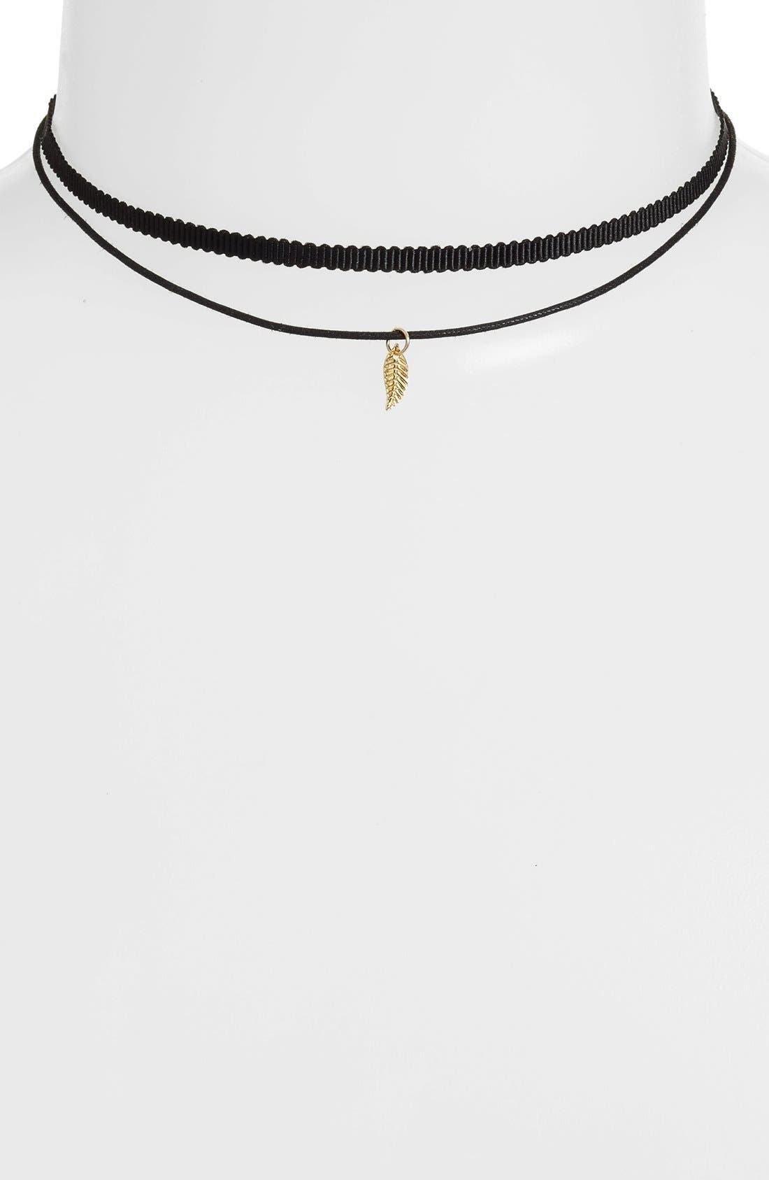 'Tiny Leaf - Ceres' Choker Necklace,                             Main thumbnail 1, color,                             710