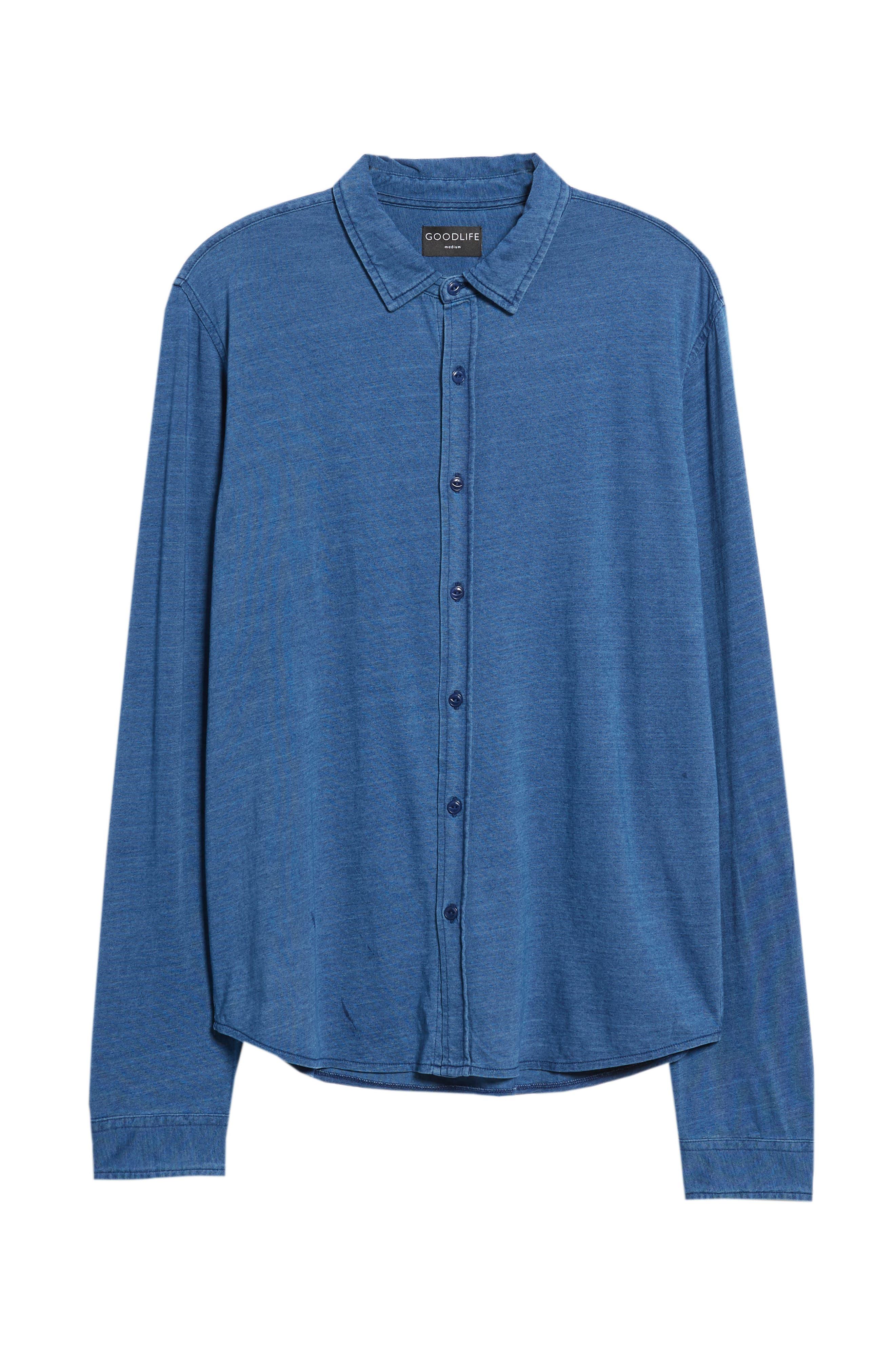 Knit Sport Shirt,                             Alternate thumbnail 6, color,                             MEDIUM INDIGO