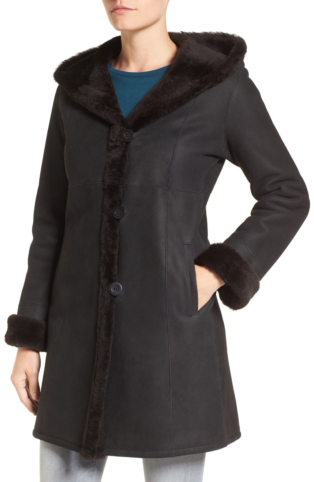 Fitted Genuine Shearling Coat,                             Alternate thumbnail 4, color,