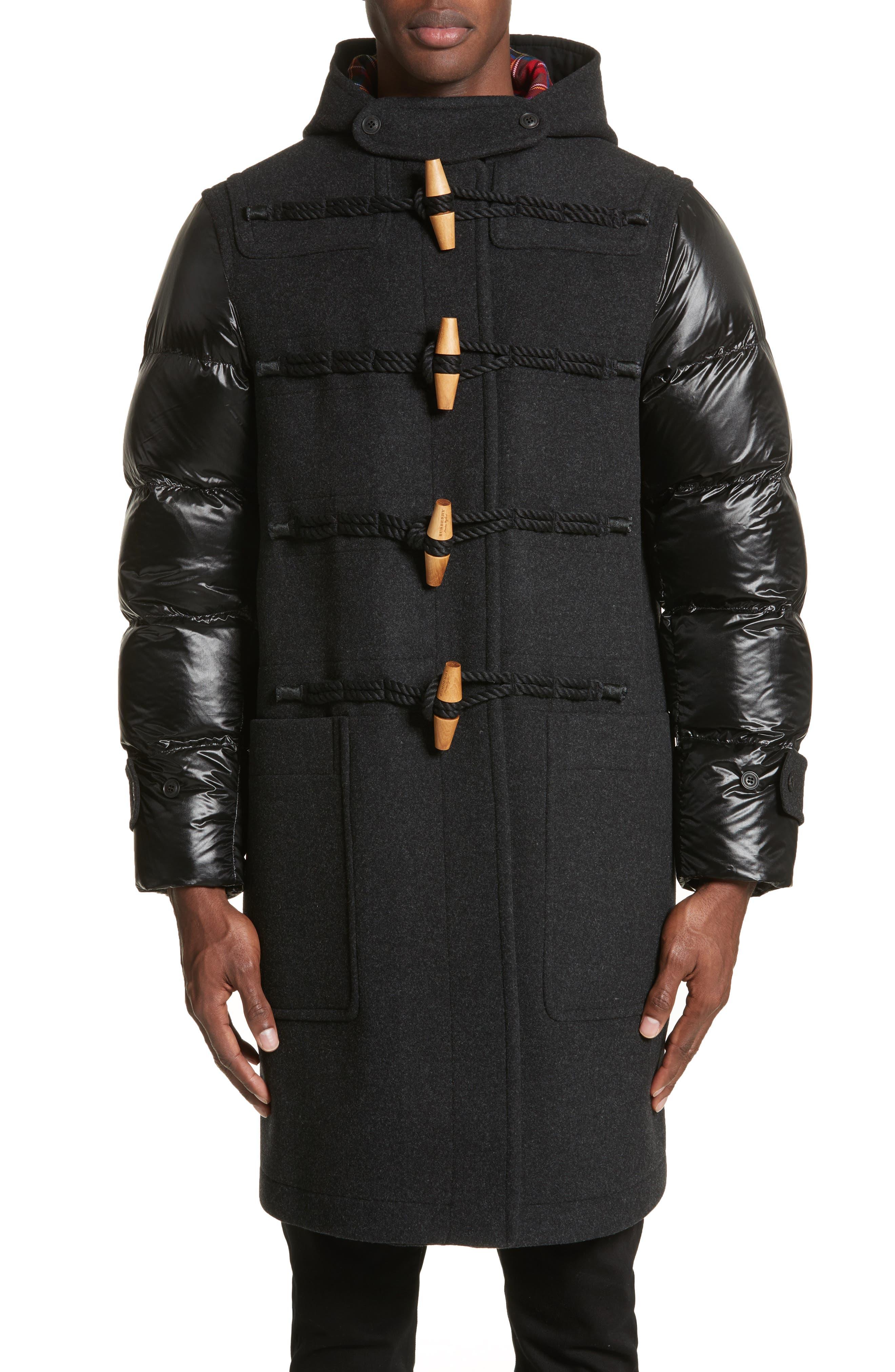 Cotterill Down Sleeve Wool Blend Duffle Coat,                             Main thumbnail 1, color,                             026