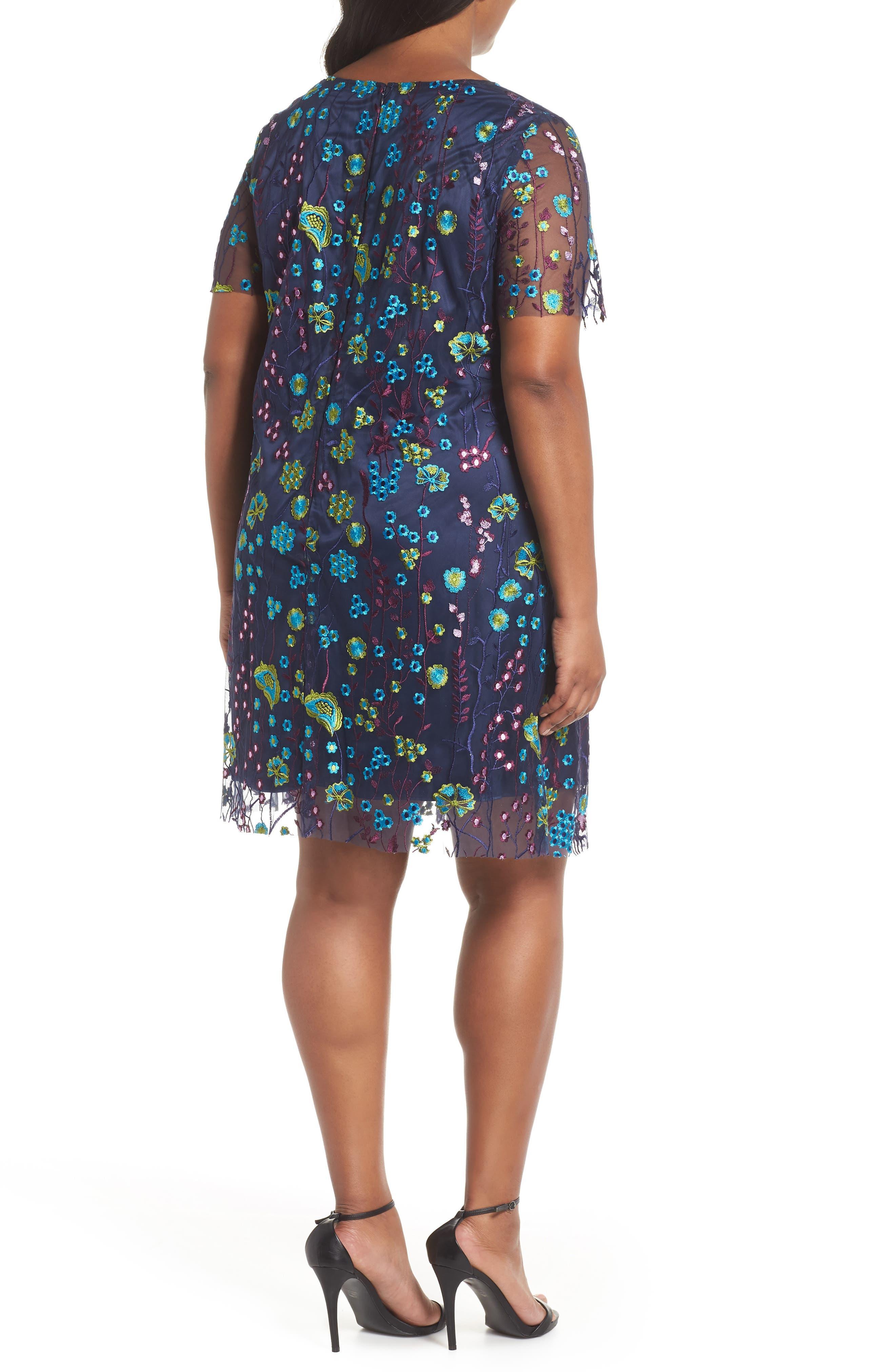 Mesh Embroidered Shift Dress,                             Alternate thumbnail 2, color,                             478