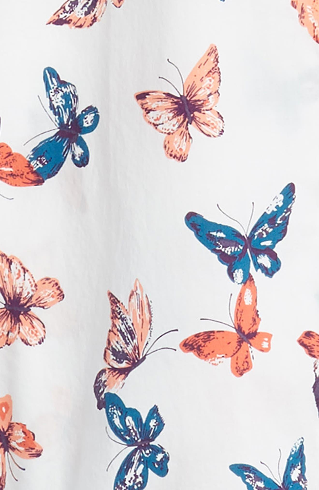 Riviera Butterfly Print Sport Shirt,                             Alternate thumbnail 6, color,                             BIG BUTTERFLIES