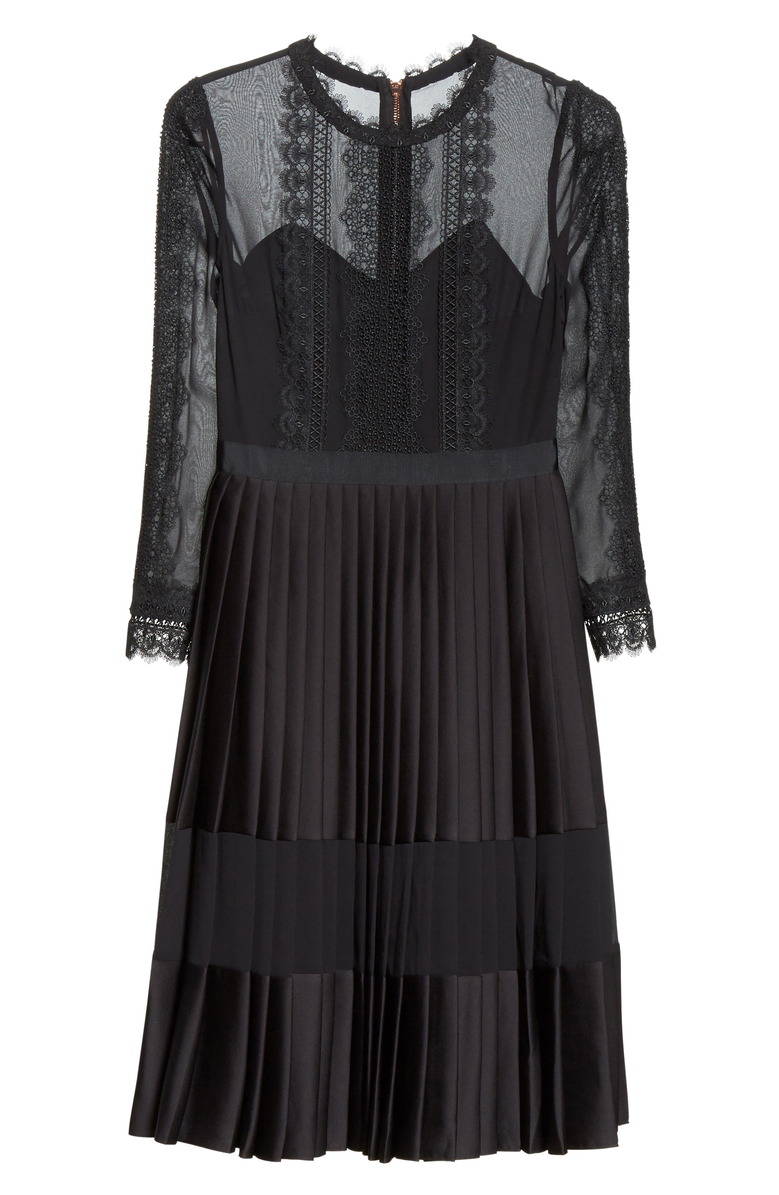 Lace Trim Pleated Midi Dress,                             Alternate thumbnail 6, color,                             001