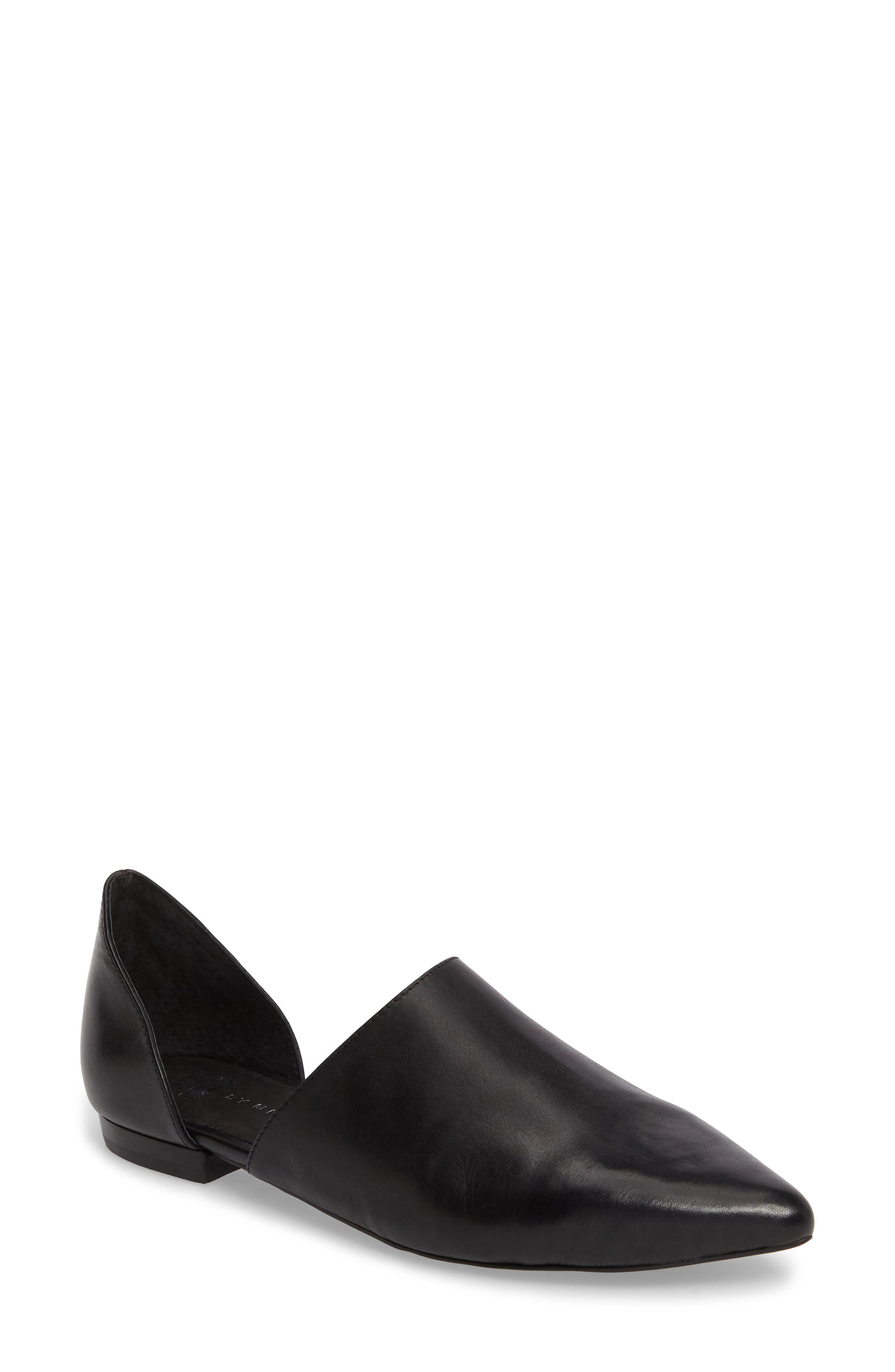 Danny d'Orsay Flat,                             Main thumbnail 1, color,                             BLACK/ BLACK LEATHER
