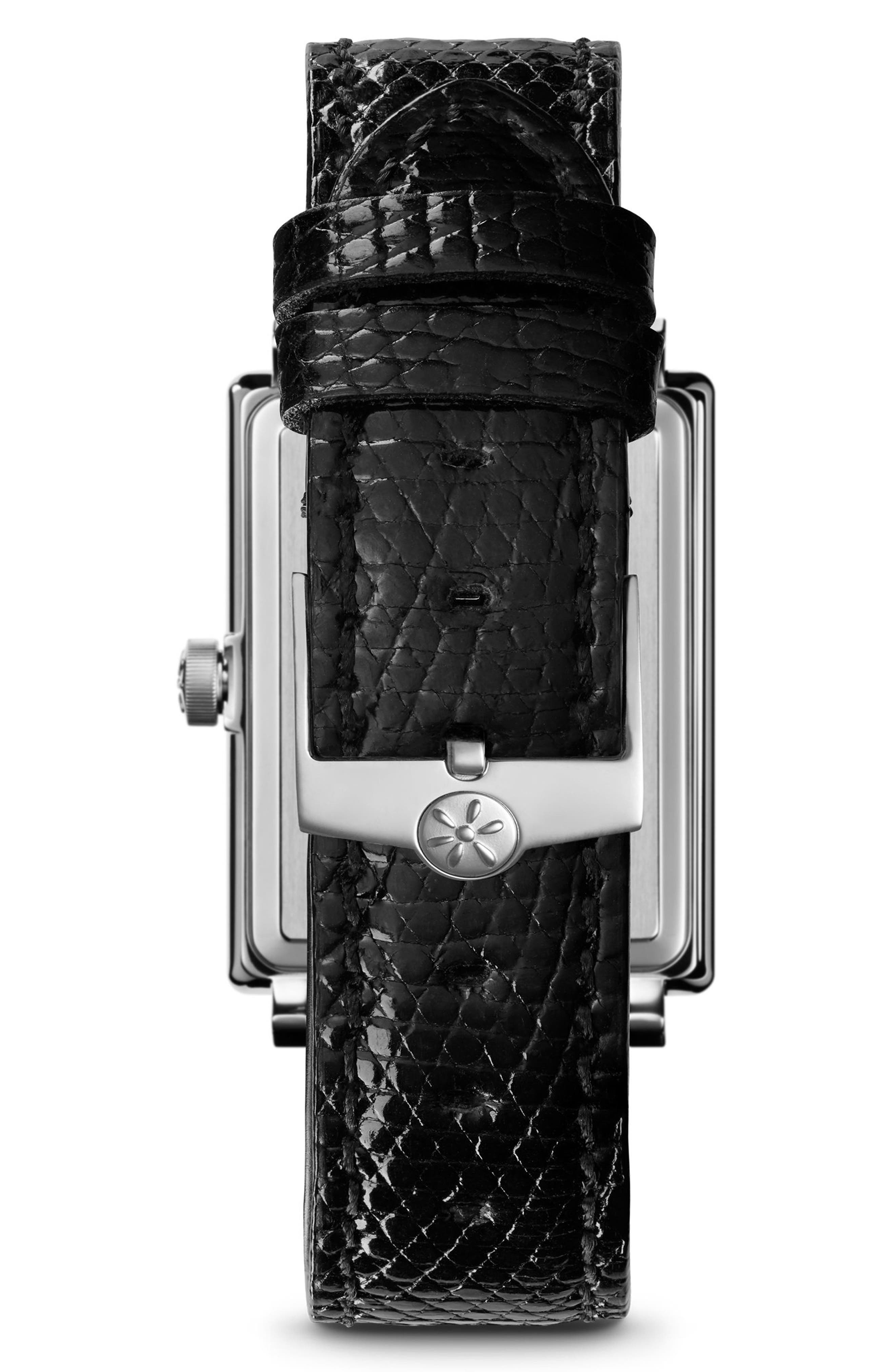 The Shirley Fromer Alligator Strap Watch, 32mm x 25mm,                             Alternate thumbnail 2, color,                             BLACK/ MOP LAPIS/ GOLD