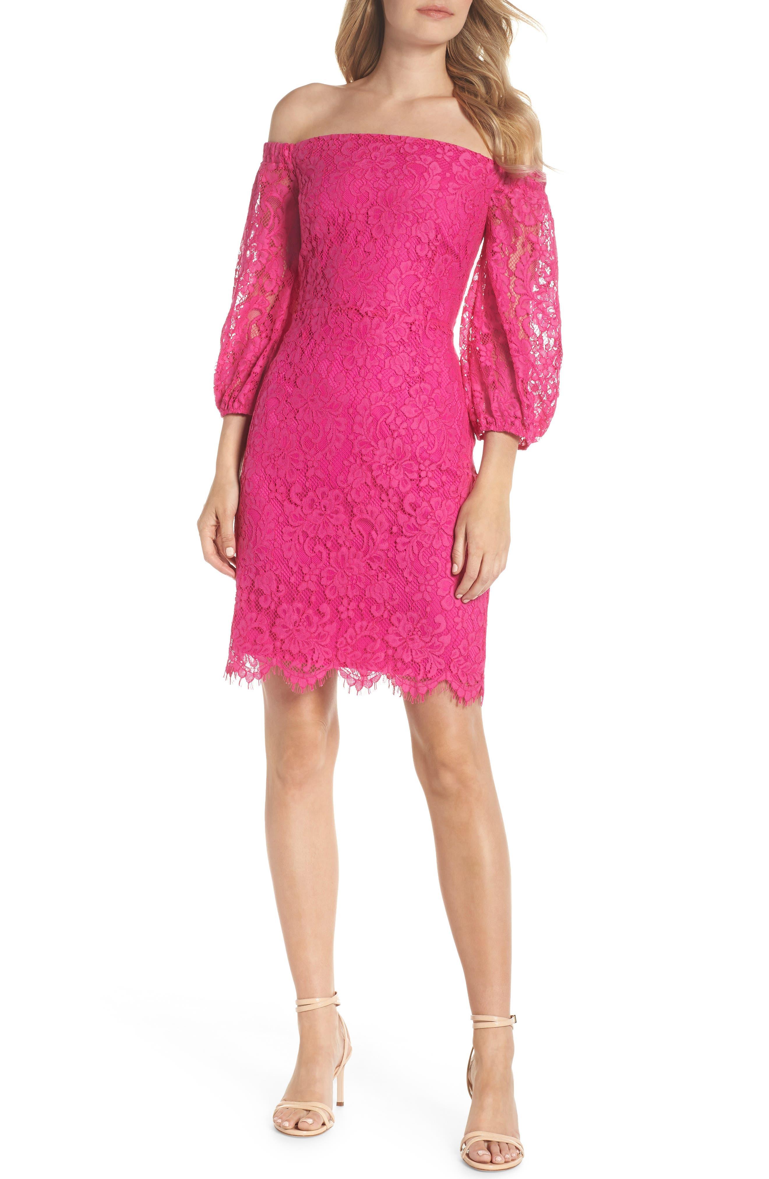 Azul Scallop Hem Off the Shoulder Lace Dress,                         Main,                         color, BRILLIANT FUCHSIA