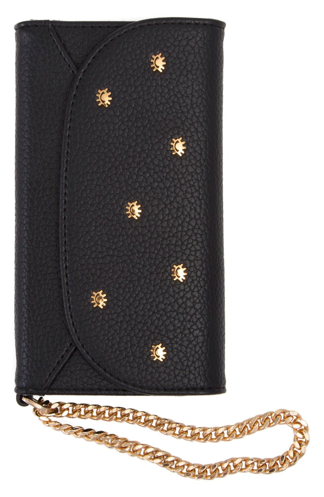 Cosmic Stud iPhone X & Xs Faux Leather Wristlet,                             Main thumbnail 1, color,                             BLACK