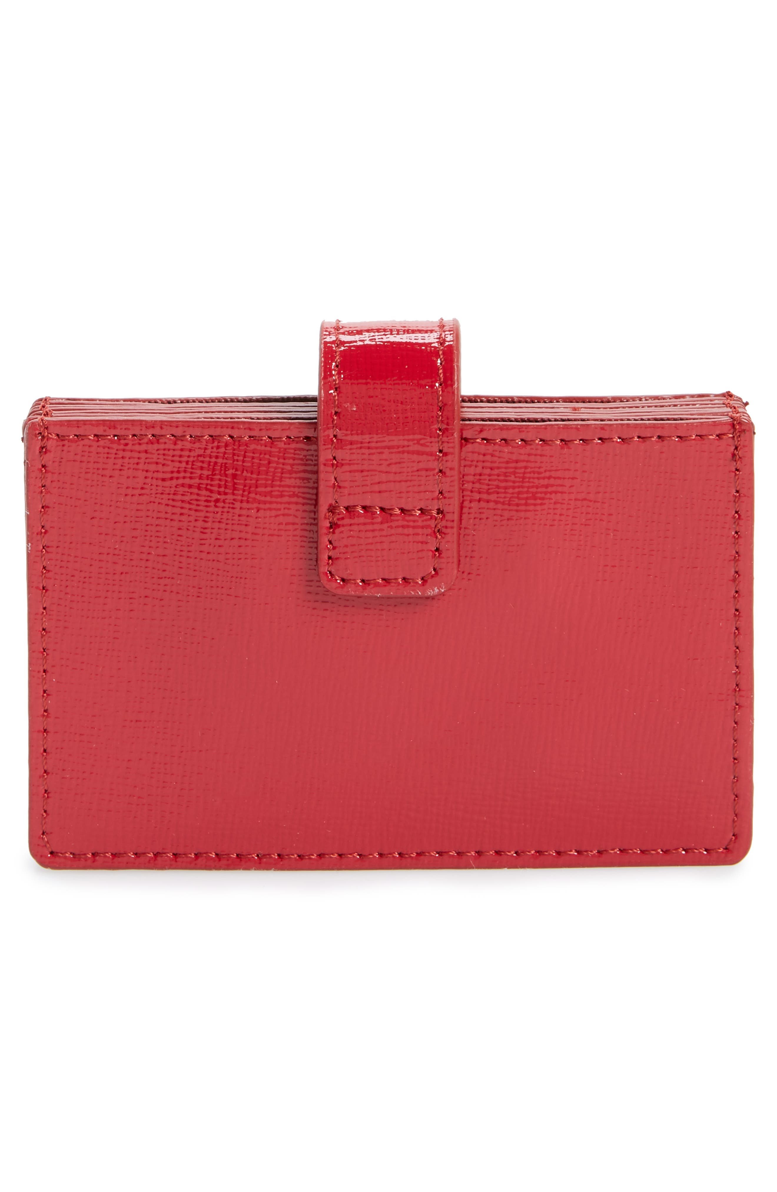 Accordion Leather Card Case,                             Alternate thumbnail 3, color,                             RED JESTER