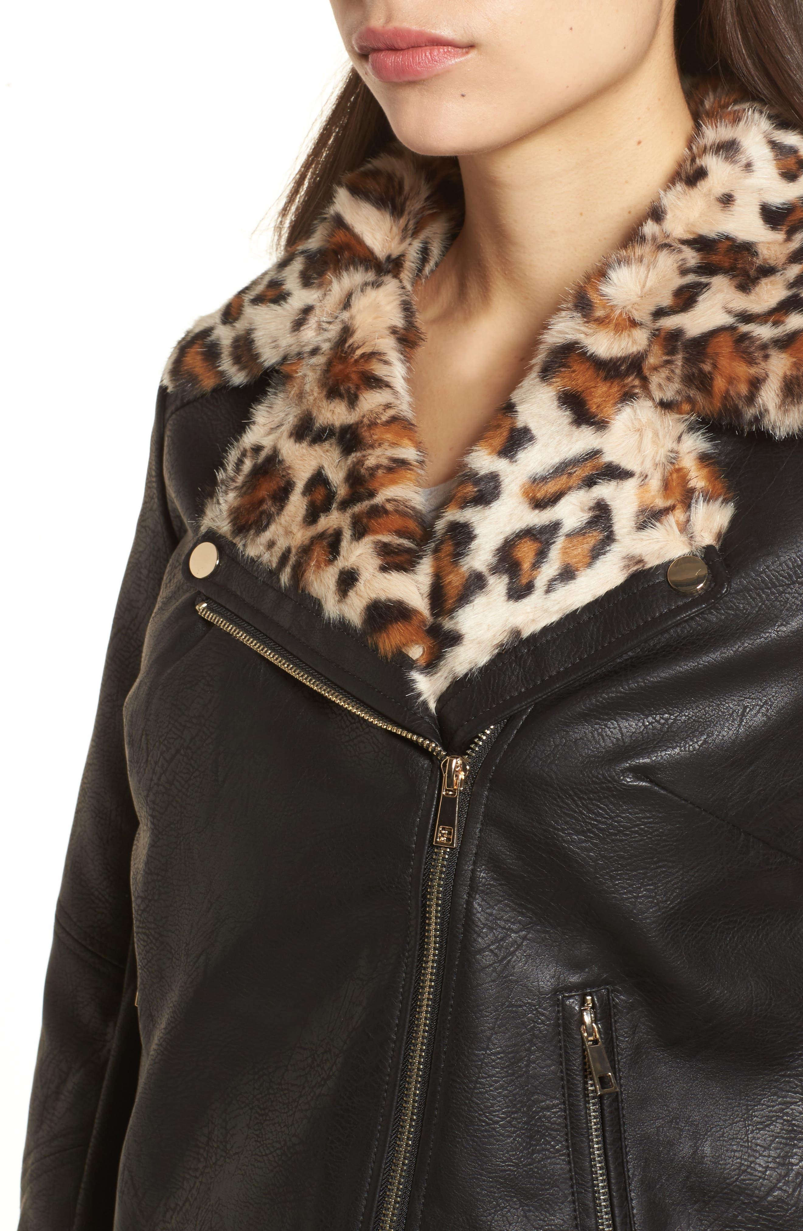 Faux Leather Biker Jacket with Faux Fur Trim,                             Alternate thumbnail 4, color,                             001