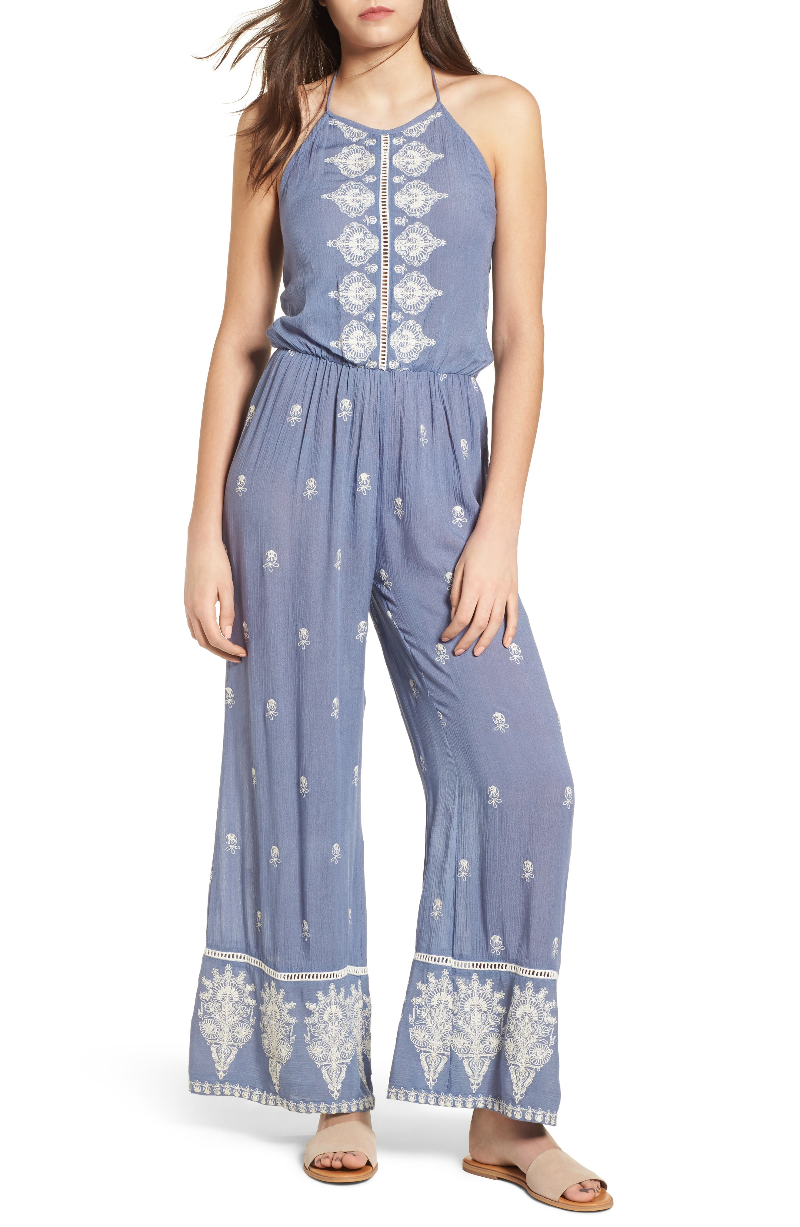 Alissa Embroidered Halter Neck Jumpsuit,                             Main thumbnail 1, color,