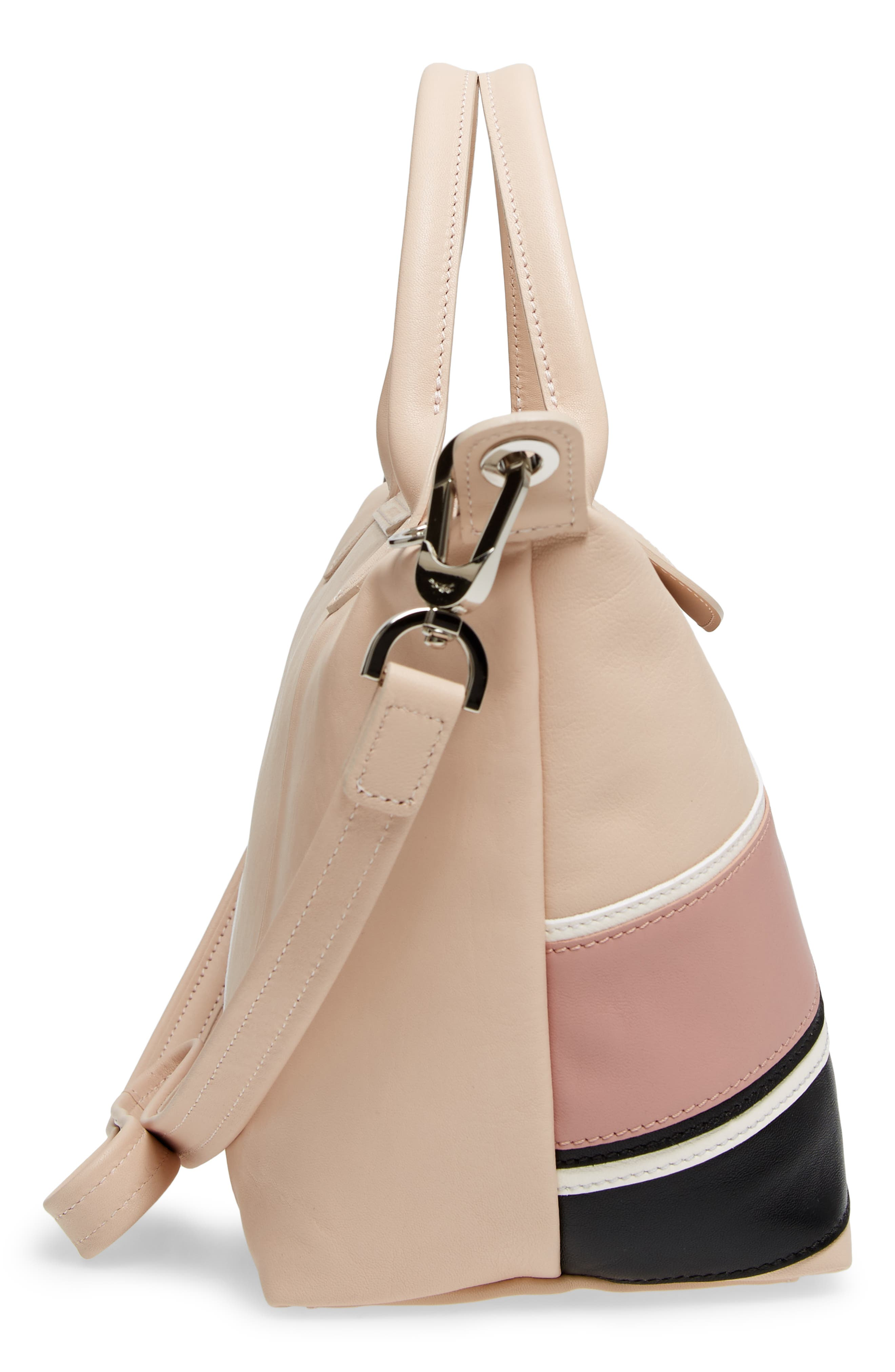 Small Le Pliage Cuir - Chevron Leather Top Handle Tote,                             Alternate thumbnail 5, color,