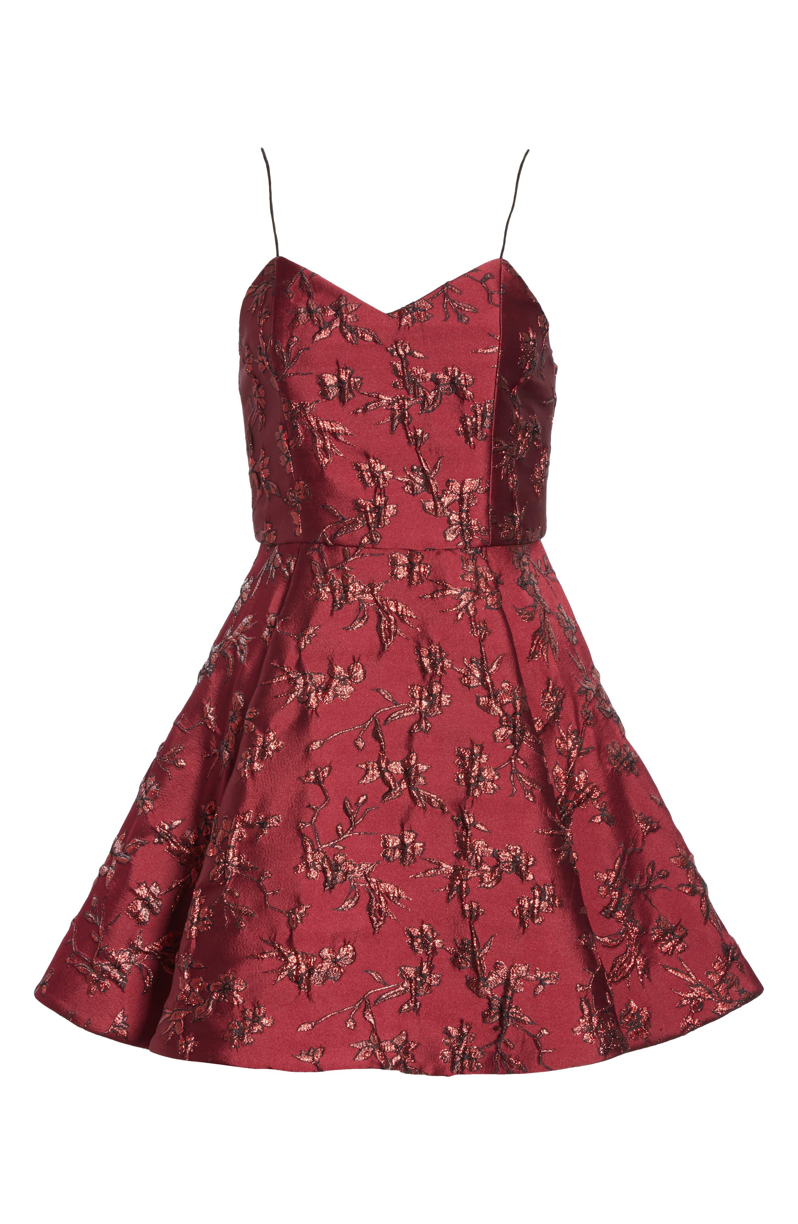 Anette Fit & Flare Party Dress,                             Alternate thumbnail 6, color,                             BORDEAUX