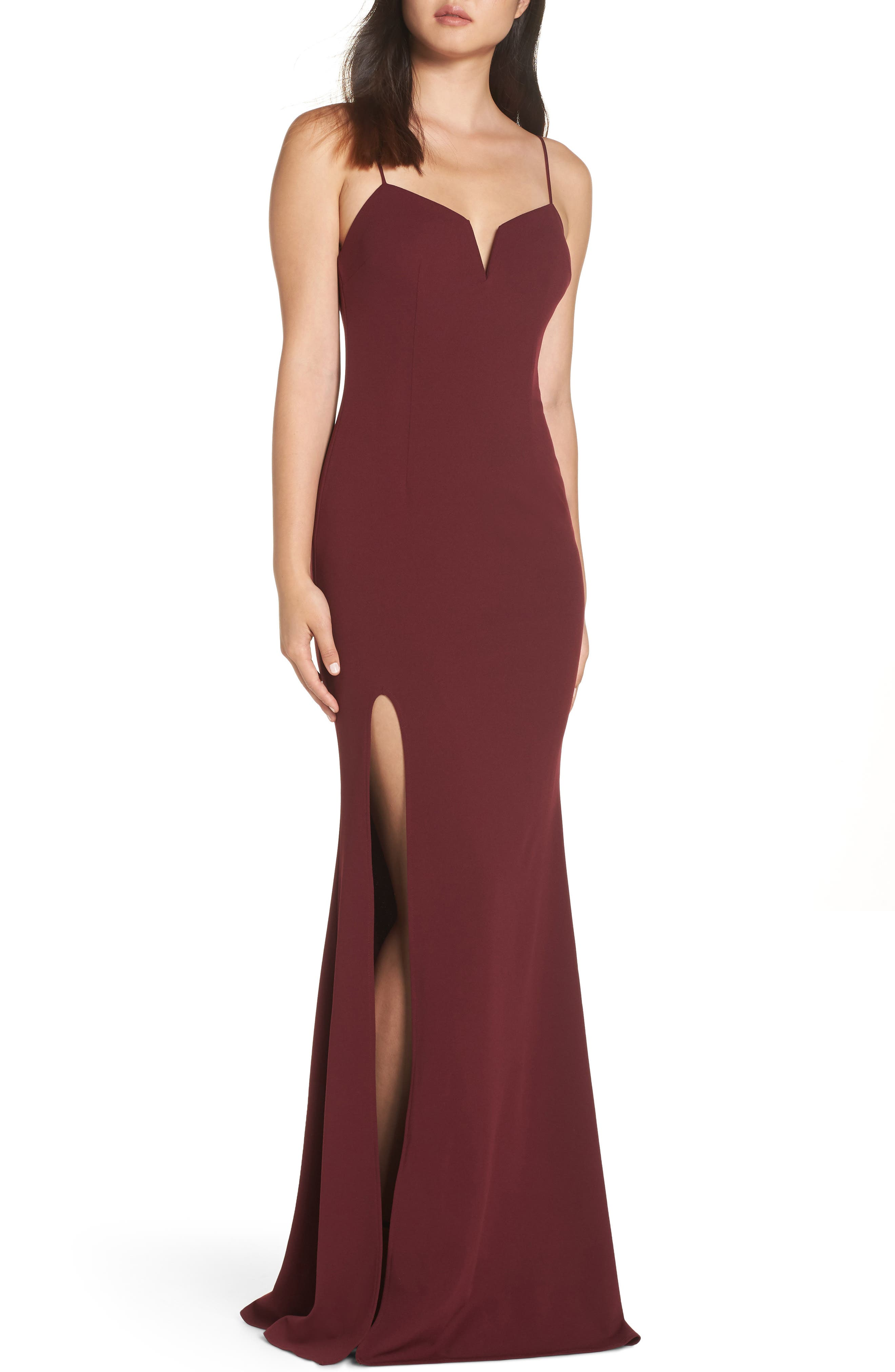 Katie May Modern Shaped Neckline Gown, Red