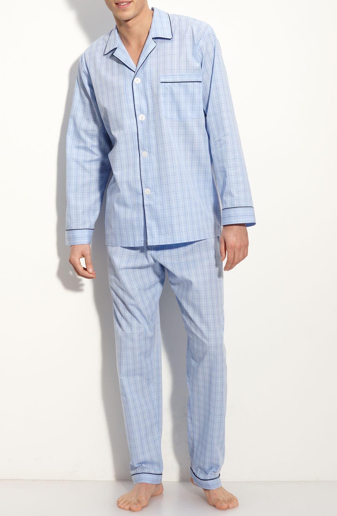Cotton Pajamas,                             Main thumbnail 1, color,                             LIGHT BLUE CHECK