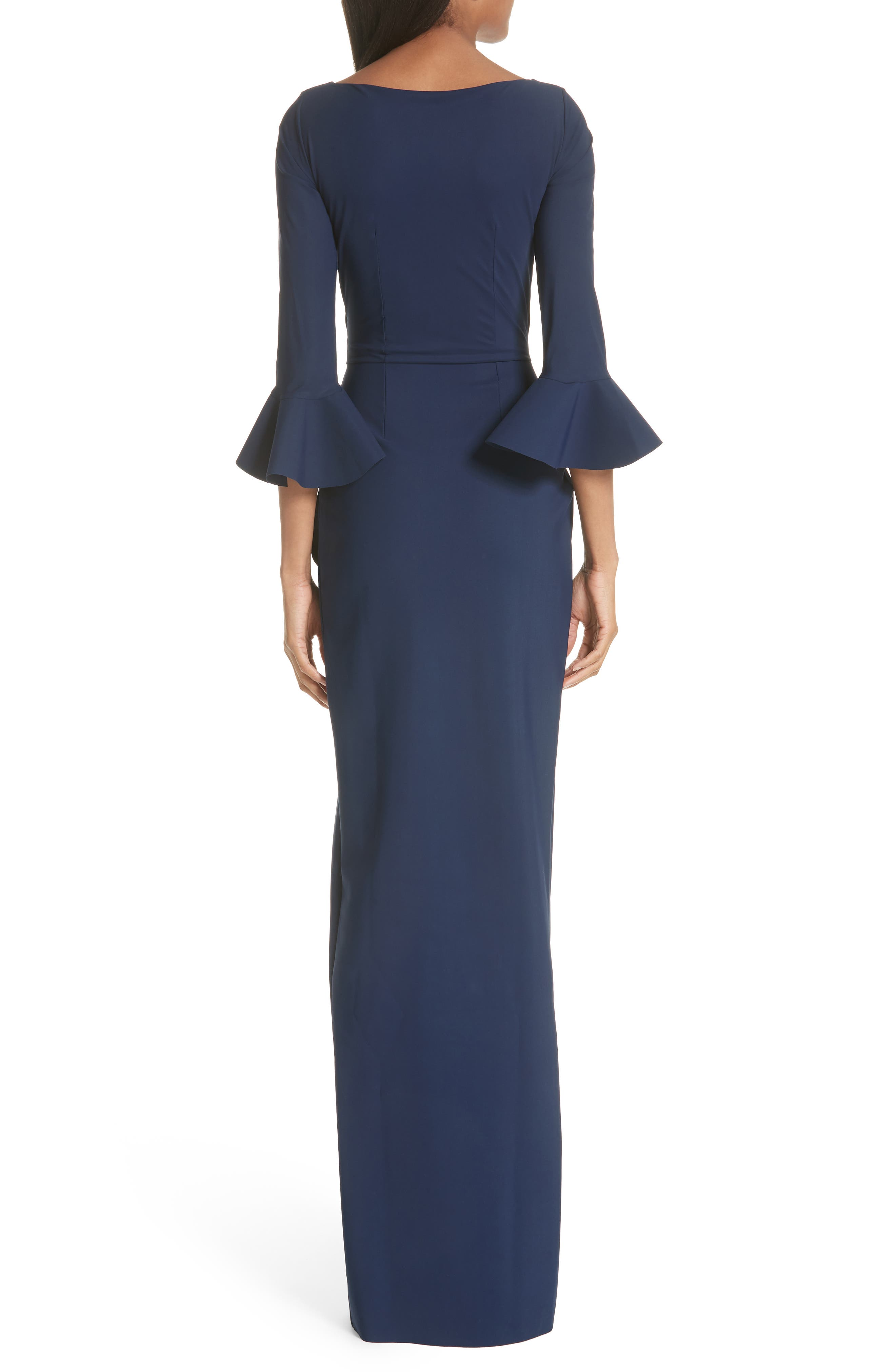 Ruched Bell Sleeve Evening Dress,                             Alternate thumbnail 2, color,                             BLUE NOTTE