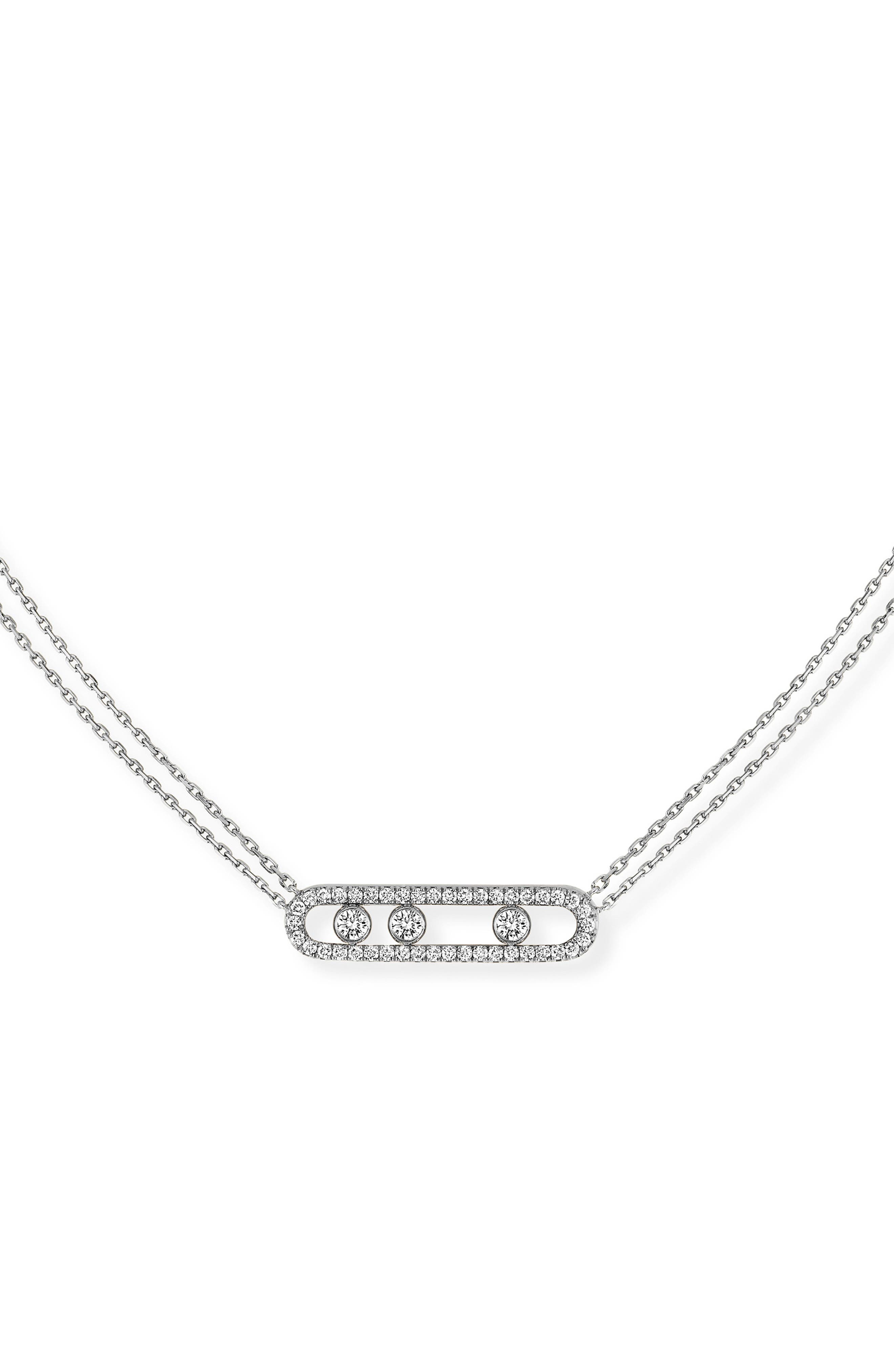 MESSIKA Move Pave Diamond Pendant Necklace in White Gold