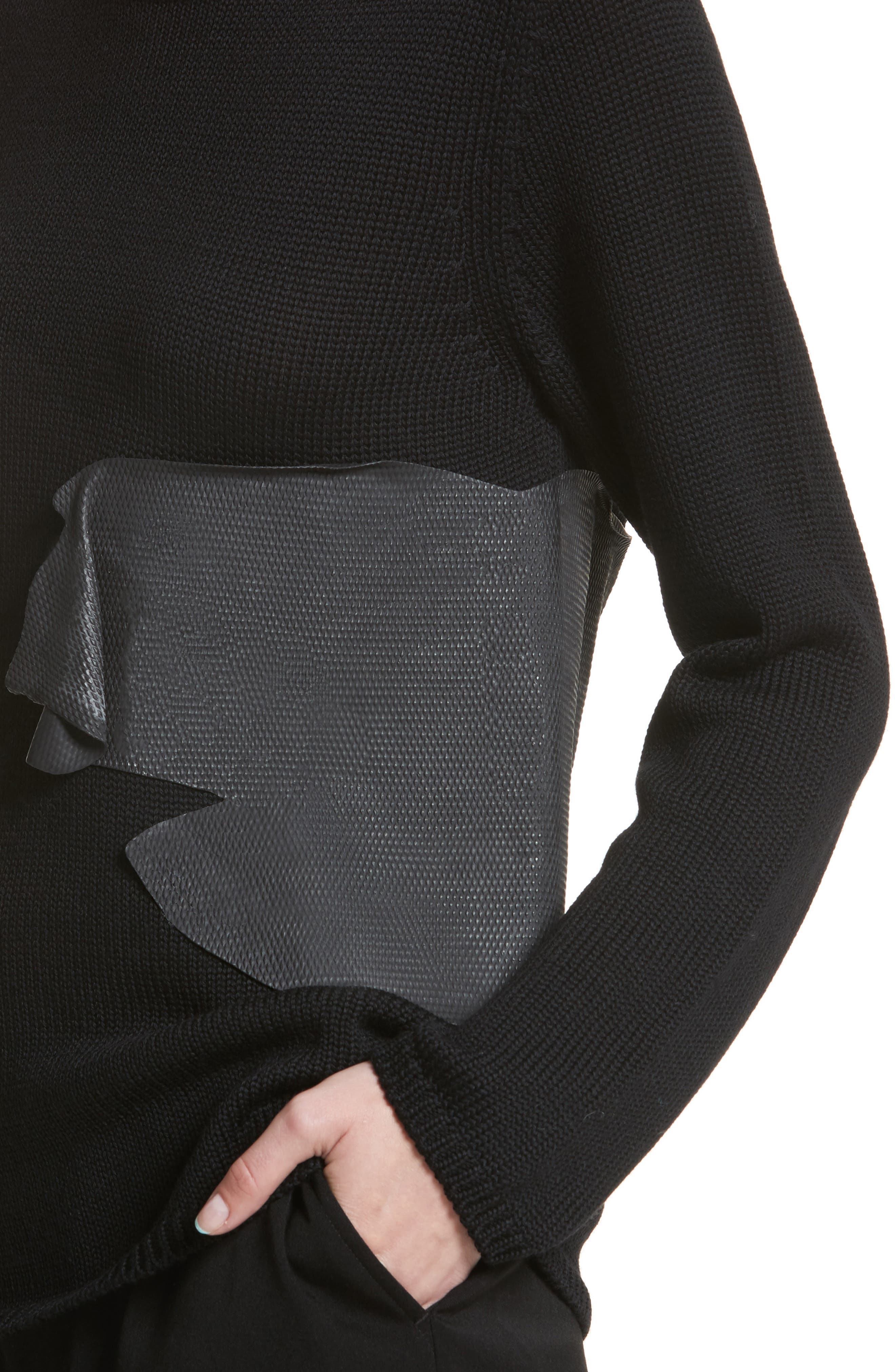 Rubber Detail Wool Sweater,                             Alternate thumbnail 4, color,                             003