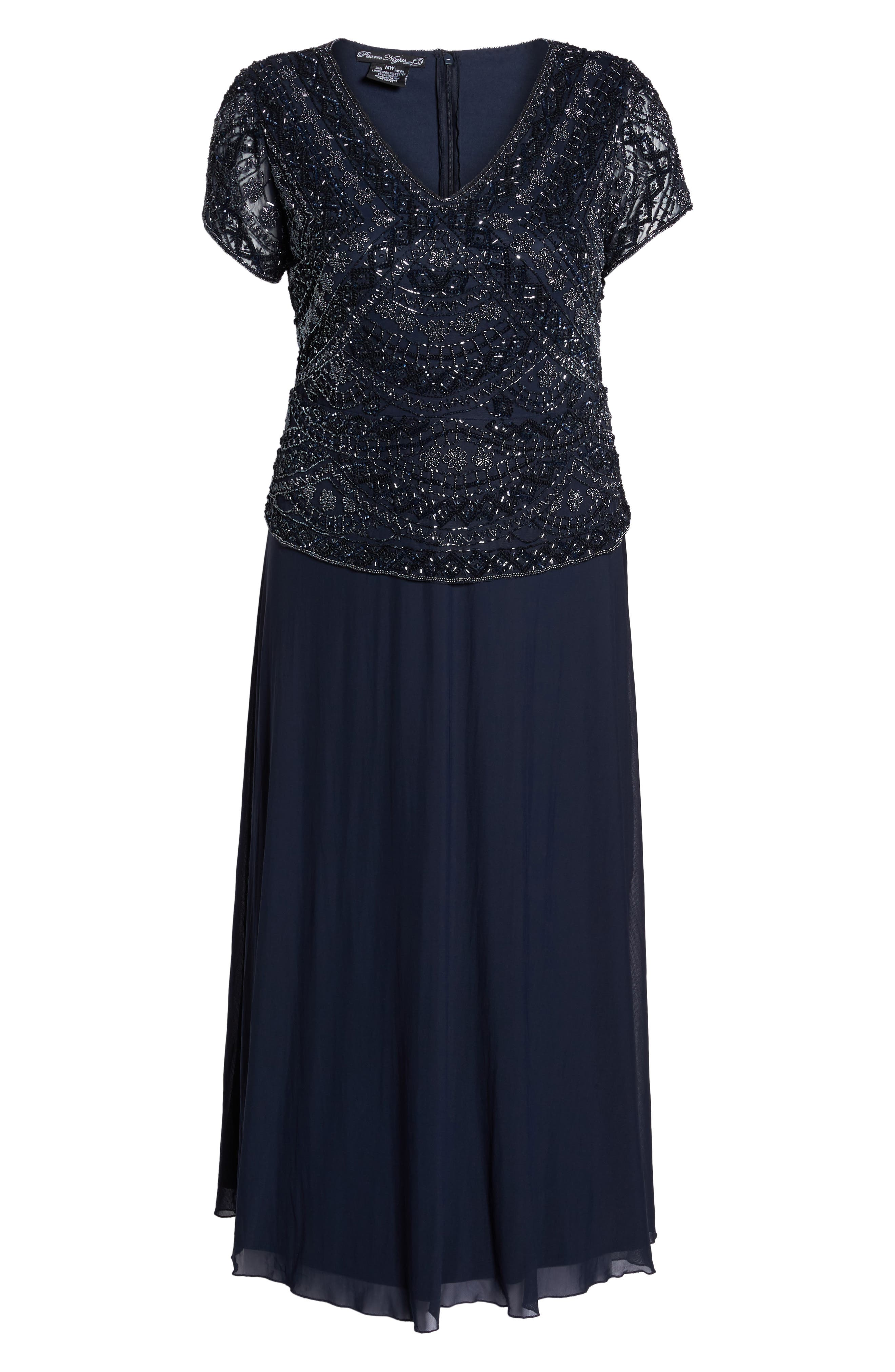 Beaded Mock Two-Piece Gown,                             Alternate thumbnail 7, color,                             NAVY