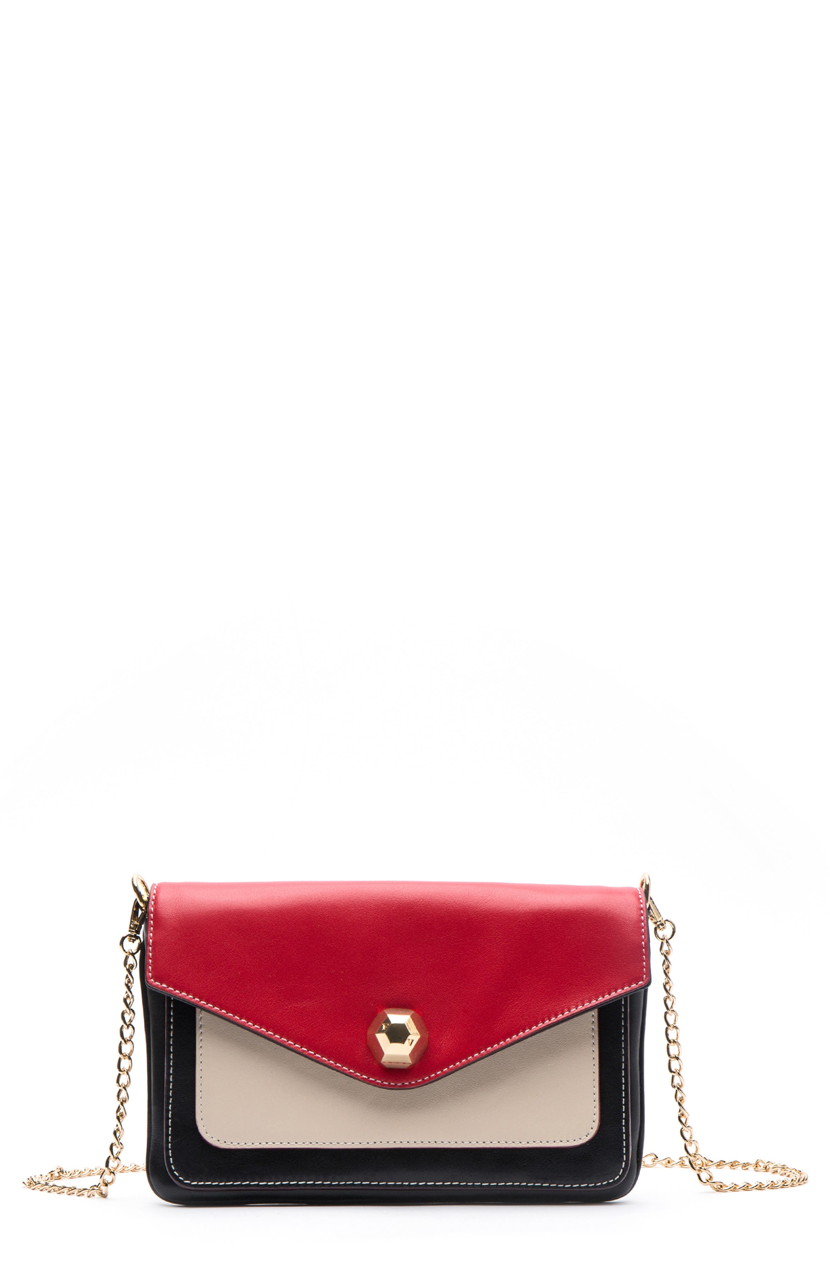 Tess Colorblock Leather Clutch,                         Main,                         color, BLACK/ OYSTER/ RED