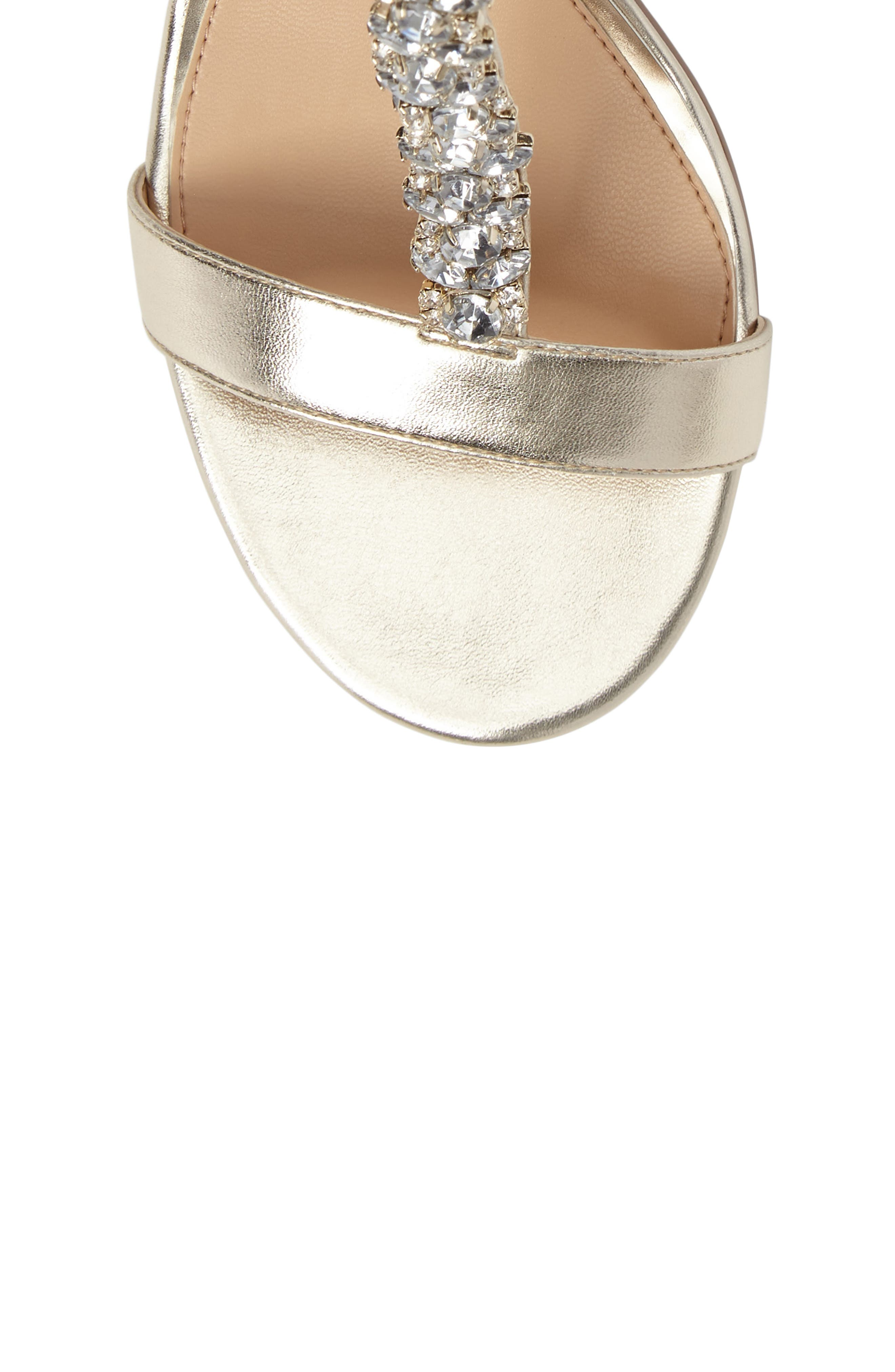 Lindsey Embellished T-Strap Sandal,                             Alternate thumbnail 5, color,                             GOLD LEATHER