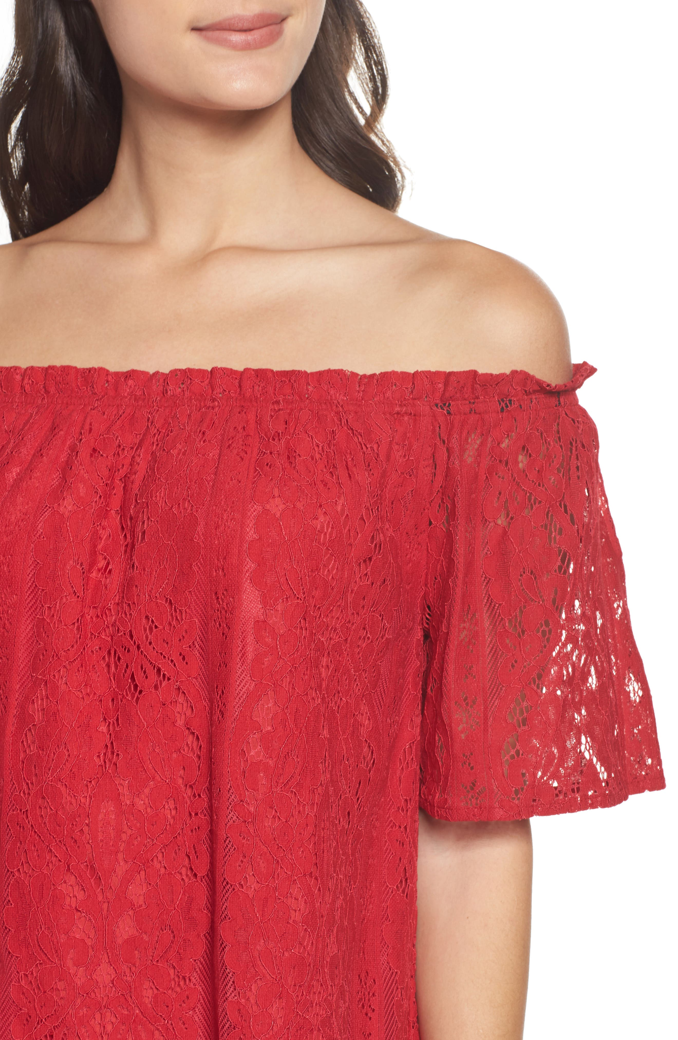 Erica Off the Shoulder Lace Shift Dress,                             Alternate thumbnail 4, color,                             600