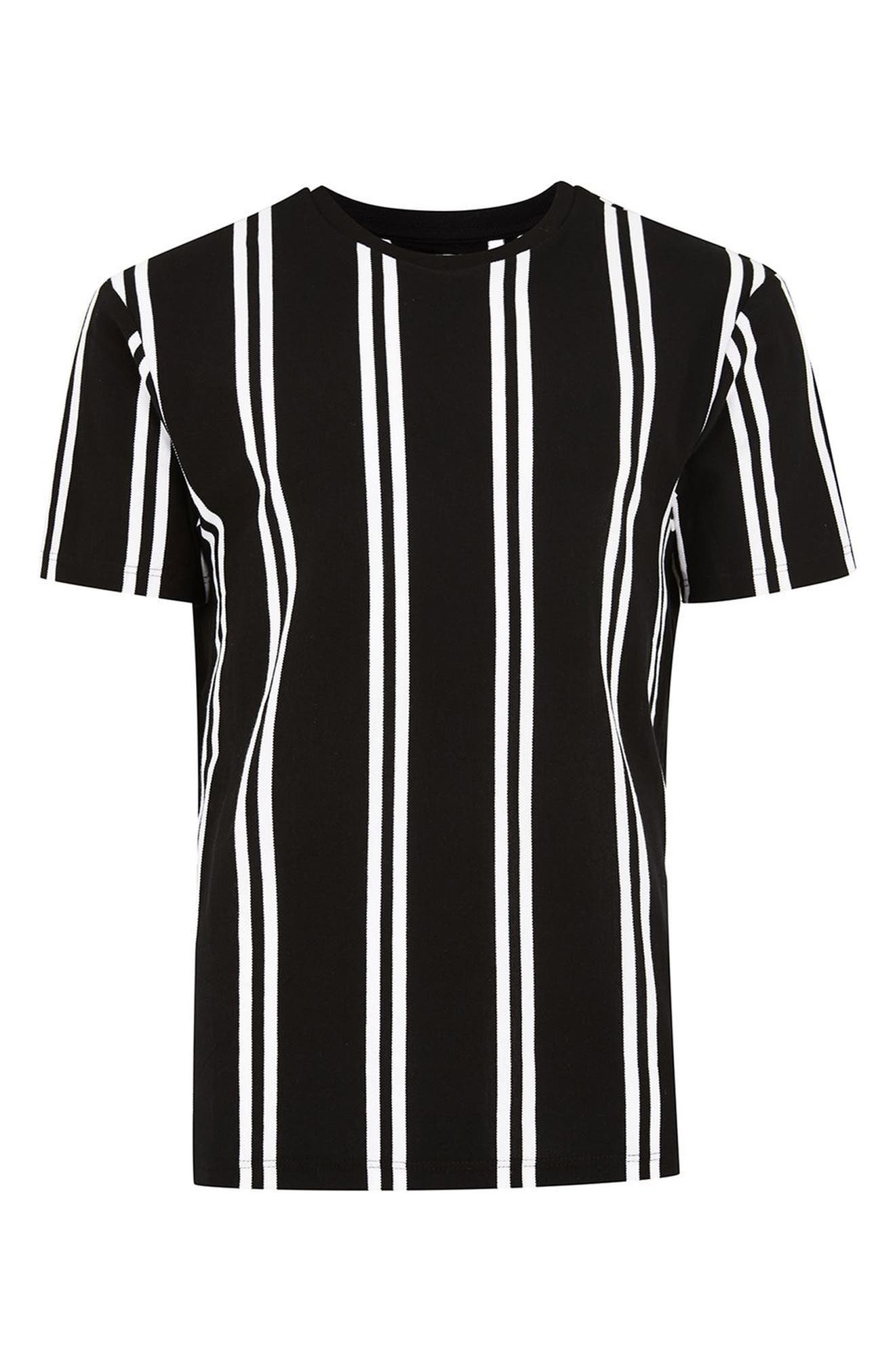 Stripe Piqué T-Shirt,                             Alternate thumbnail 4, color,                             001