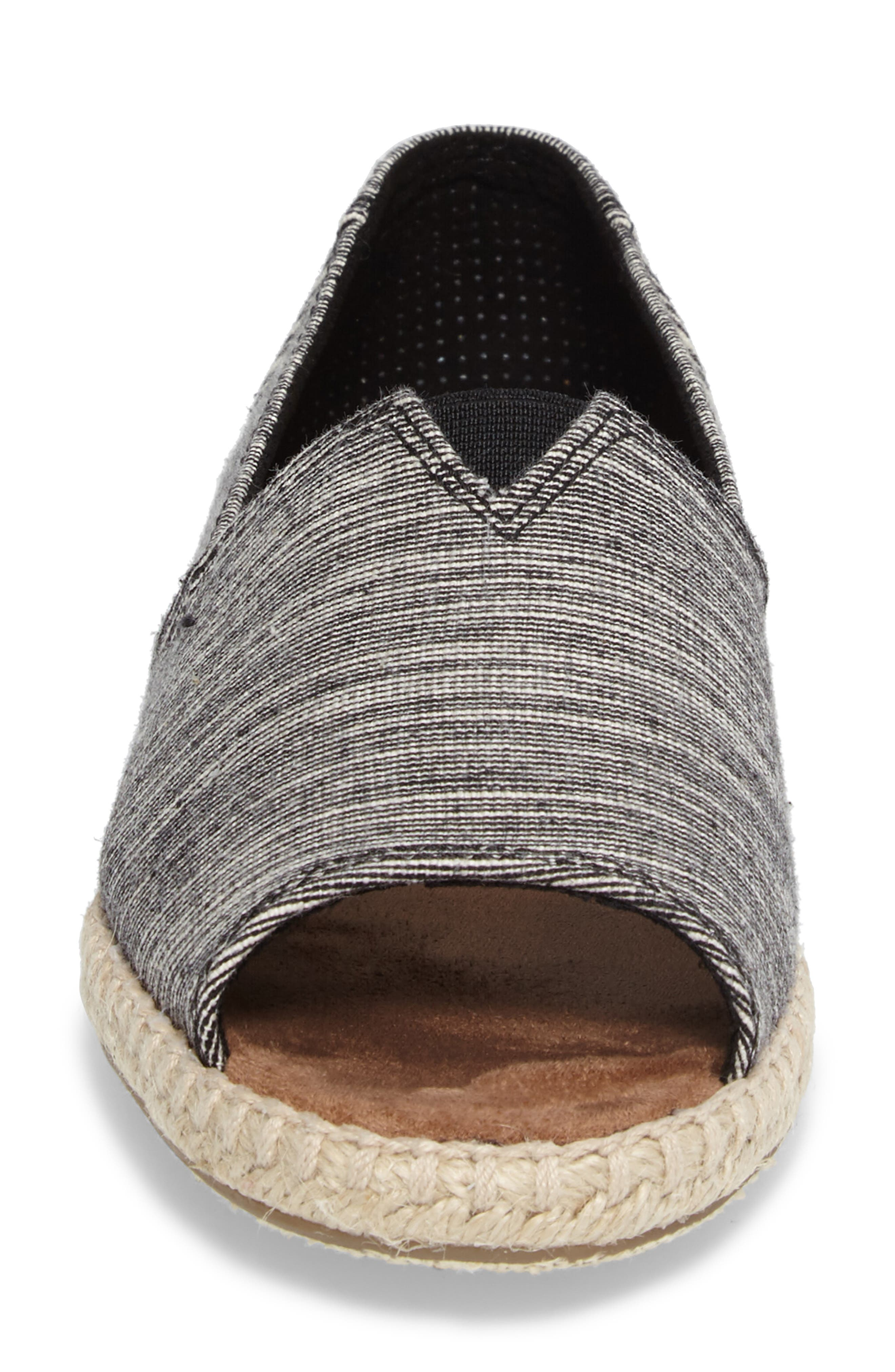 Open Toe Espadrille Slip-On,                             Alternate thumbnail 4, color,                             001