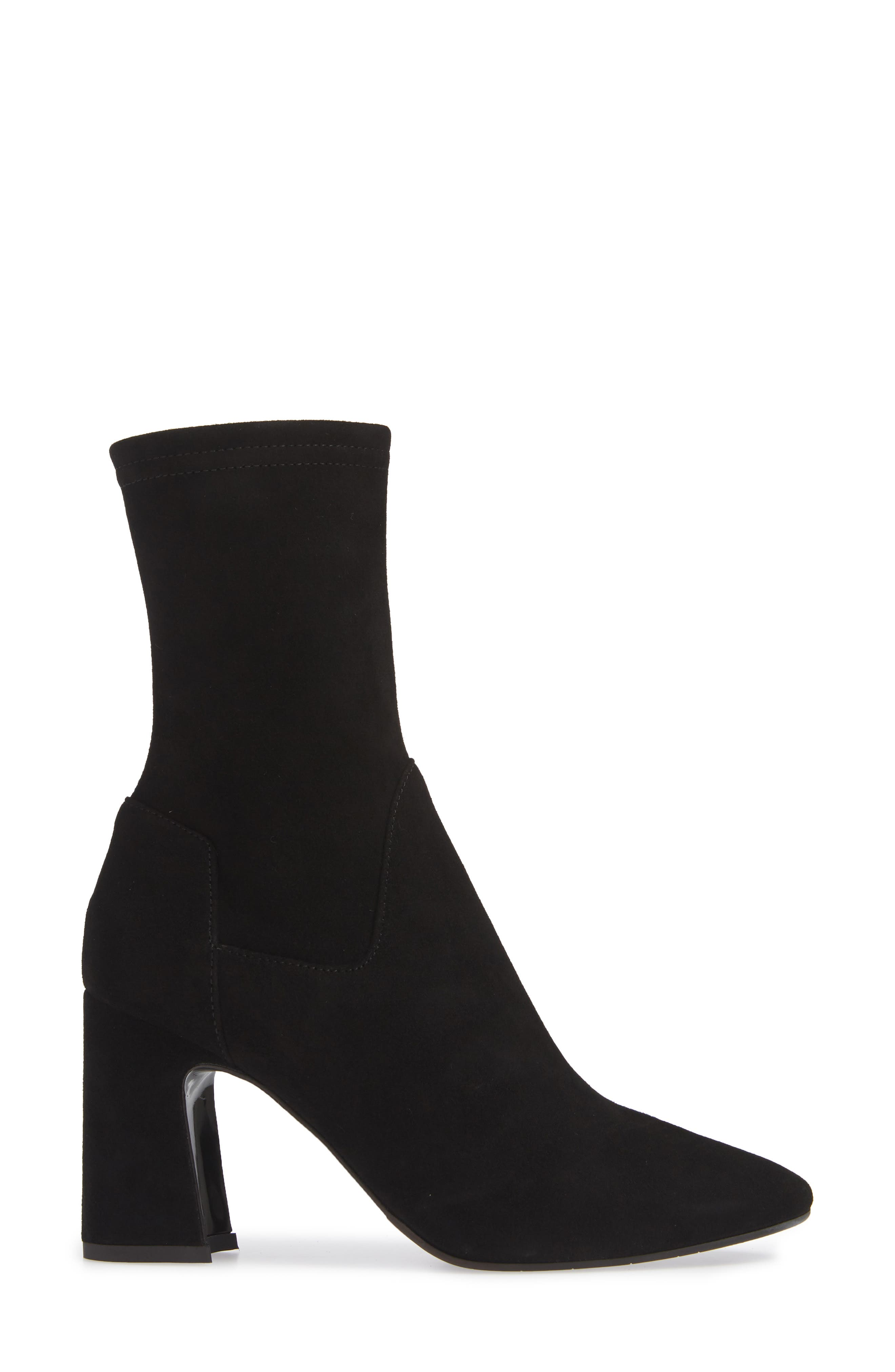 Nastasia Stretch Suede Boot,                             Alternate thumbnail 3, color,                             BLACK SUEDE