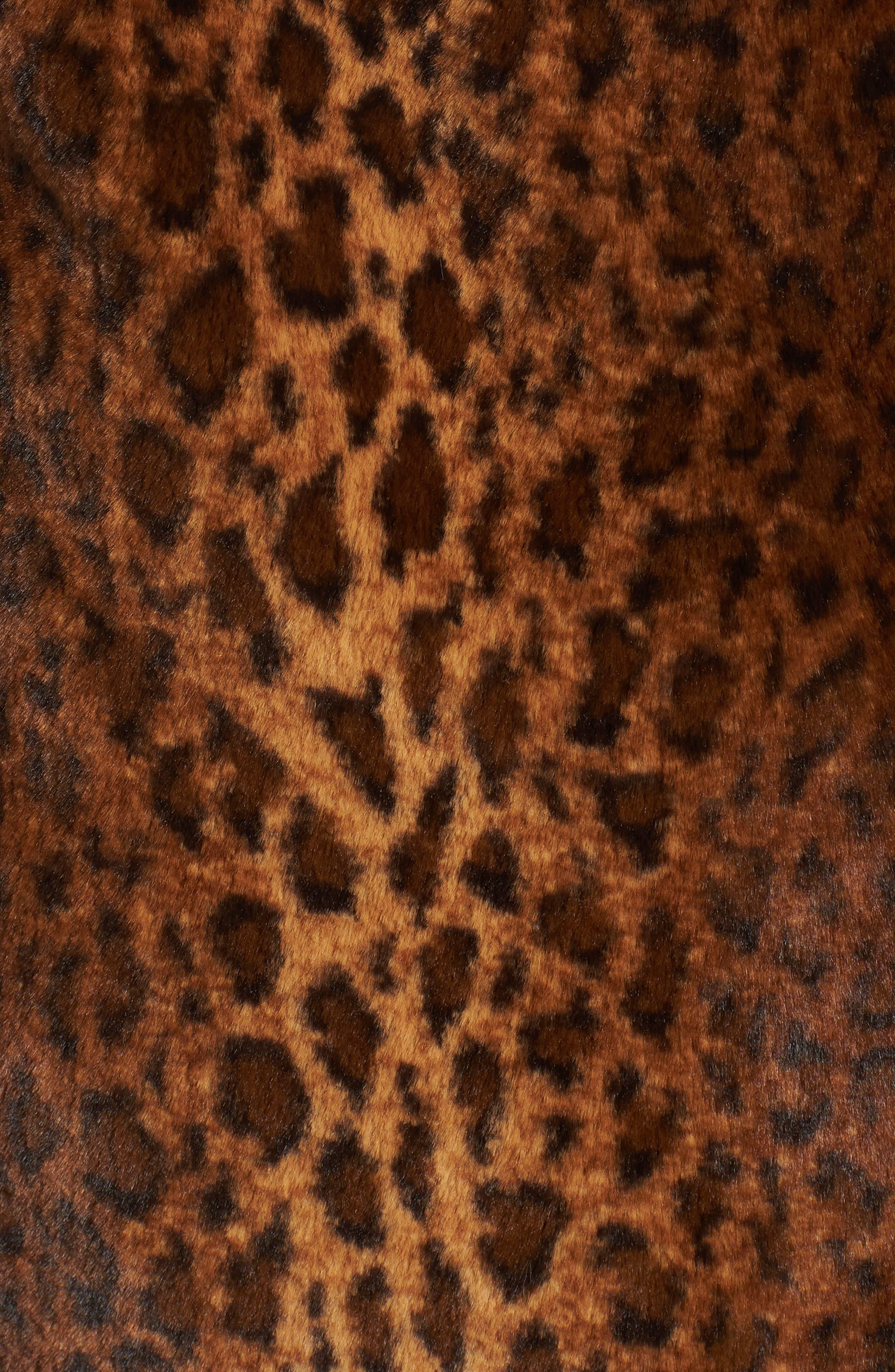 Faux Fur Leopard Print Coat,                             Alternate thumbnail 7, color,                             206
