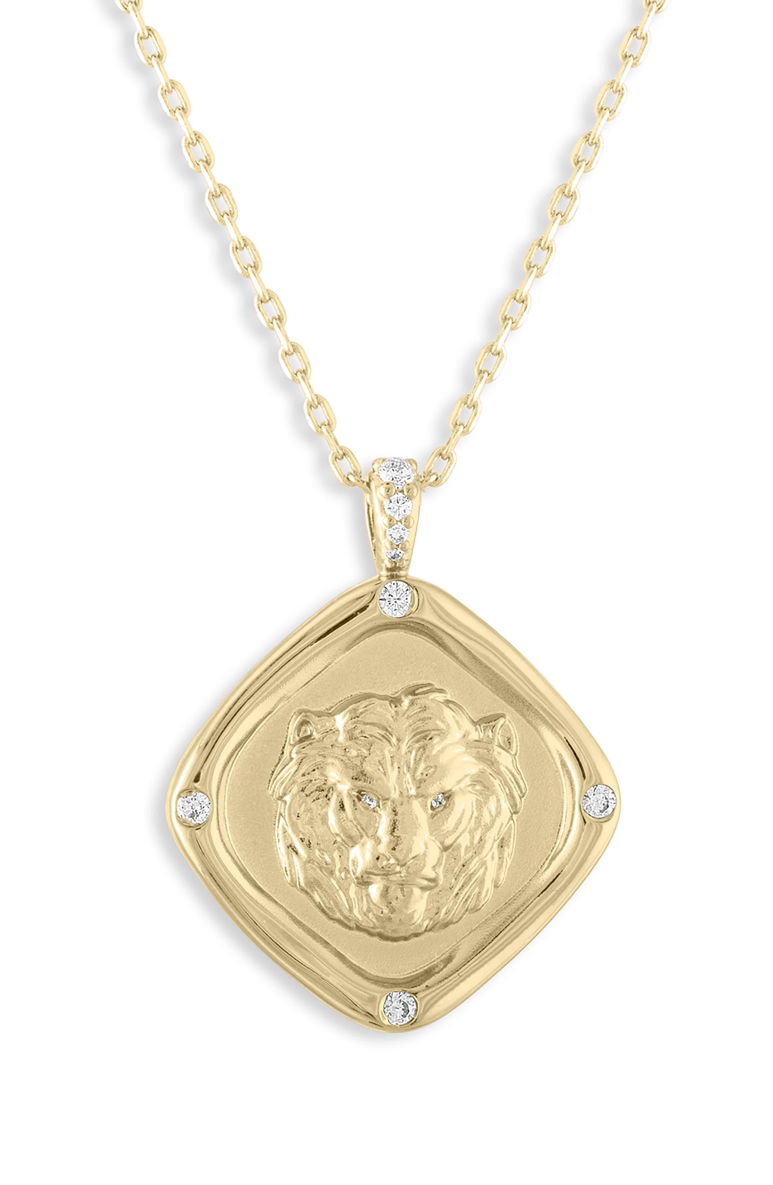 LULU DK Invincible Diamond Shaped Pendant Necklace in Gold