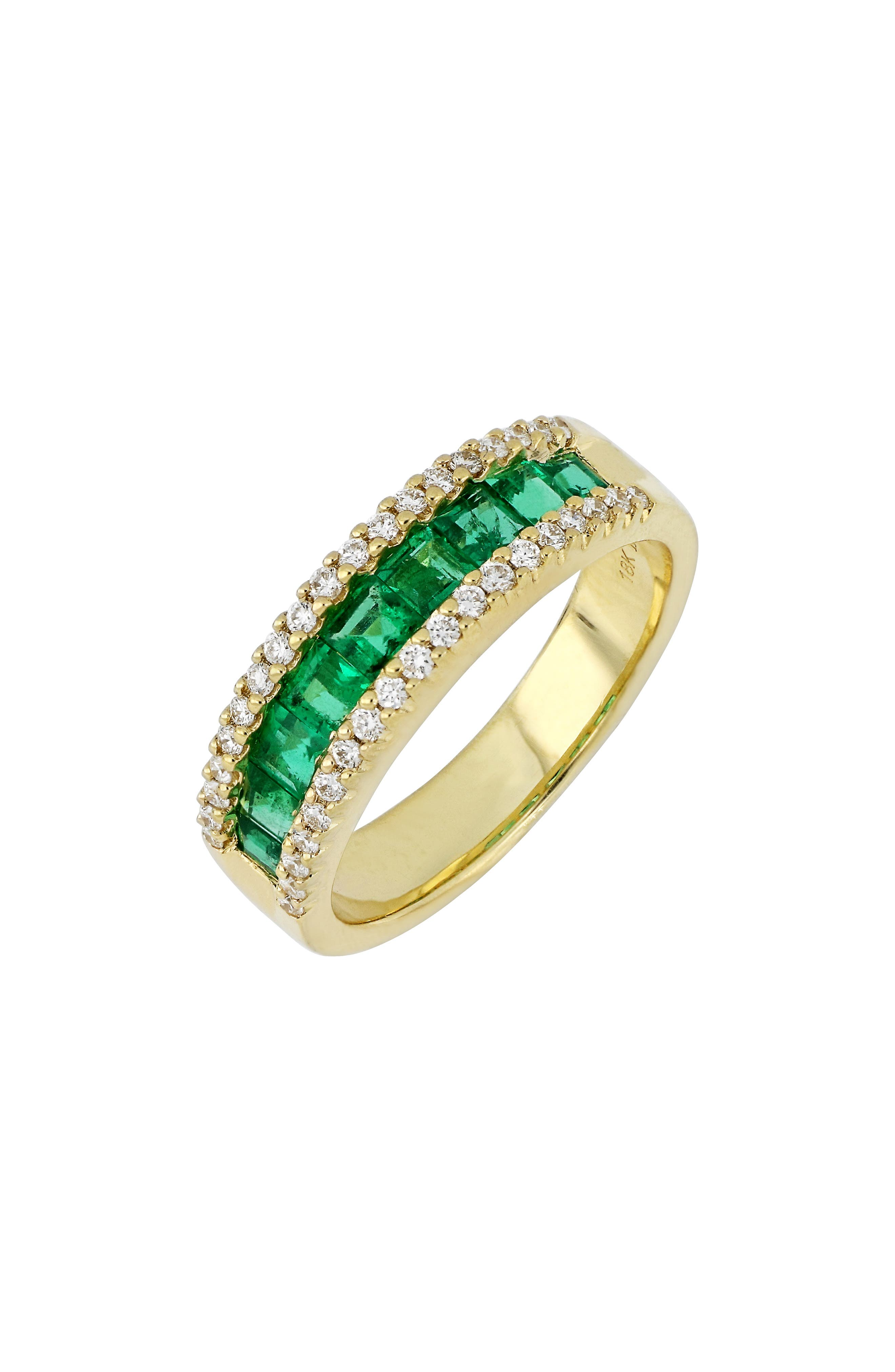 Diamond & Emerald Band Ring,                         Main,                         color, 320