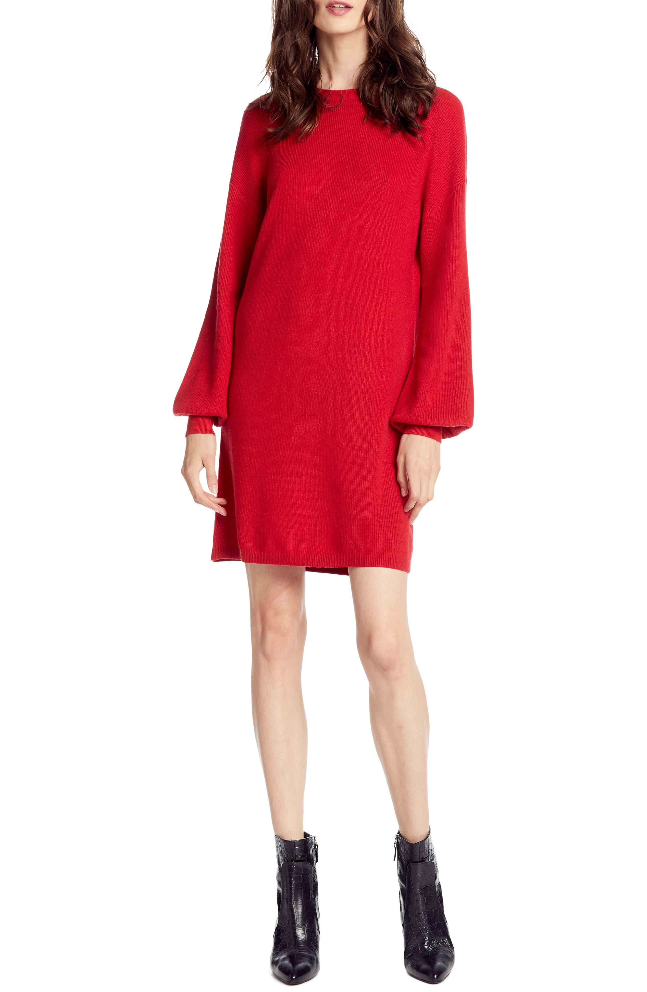 Michael Stars Bishop Sleeve Sweater Dress, Red