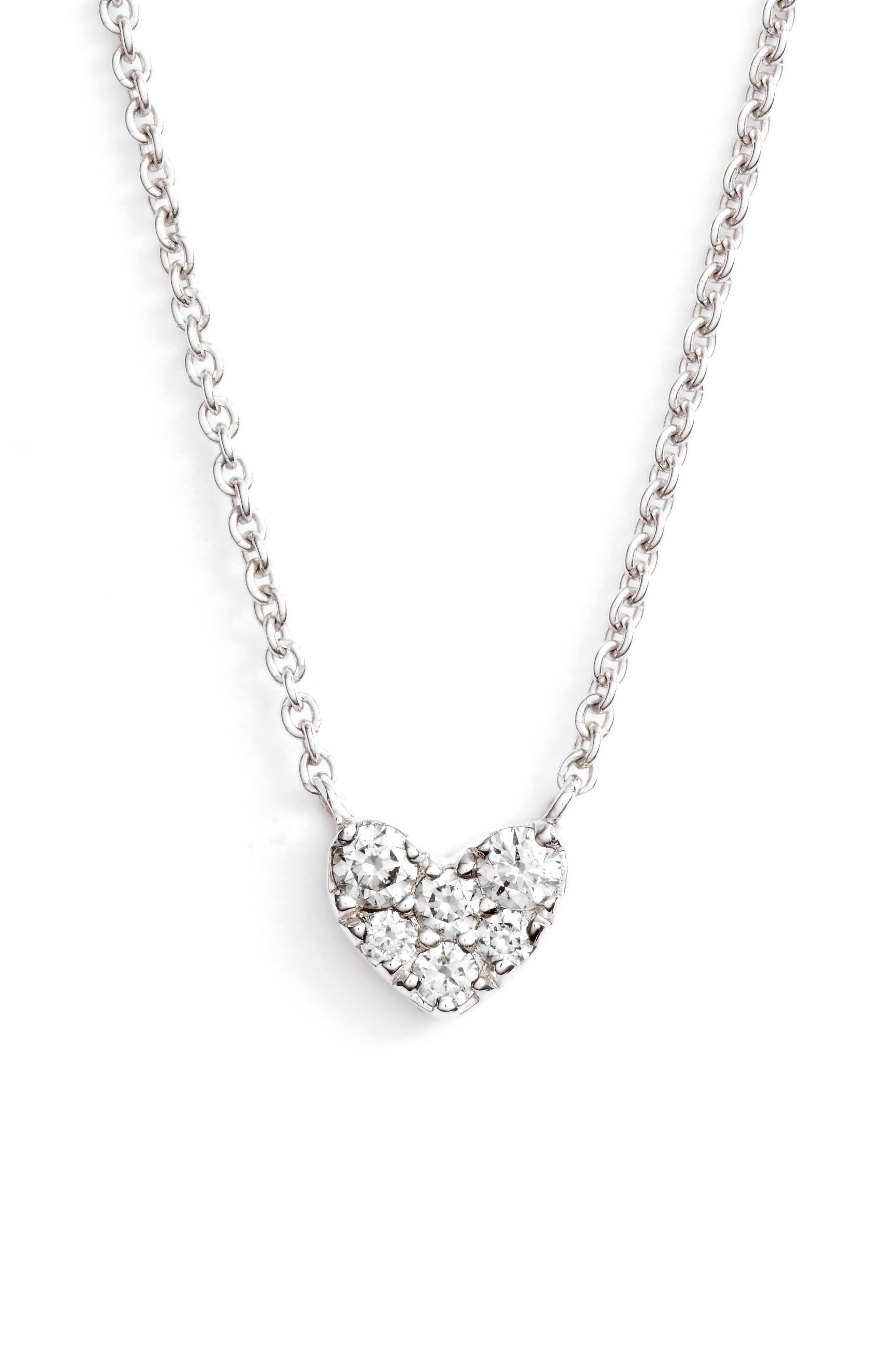 Pavé Diamond Heart Pendant Necklace,                         Main,                         color, WHITE GOLD/ DIAMOND
