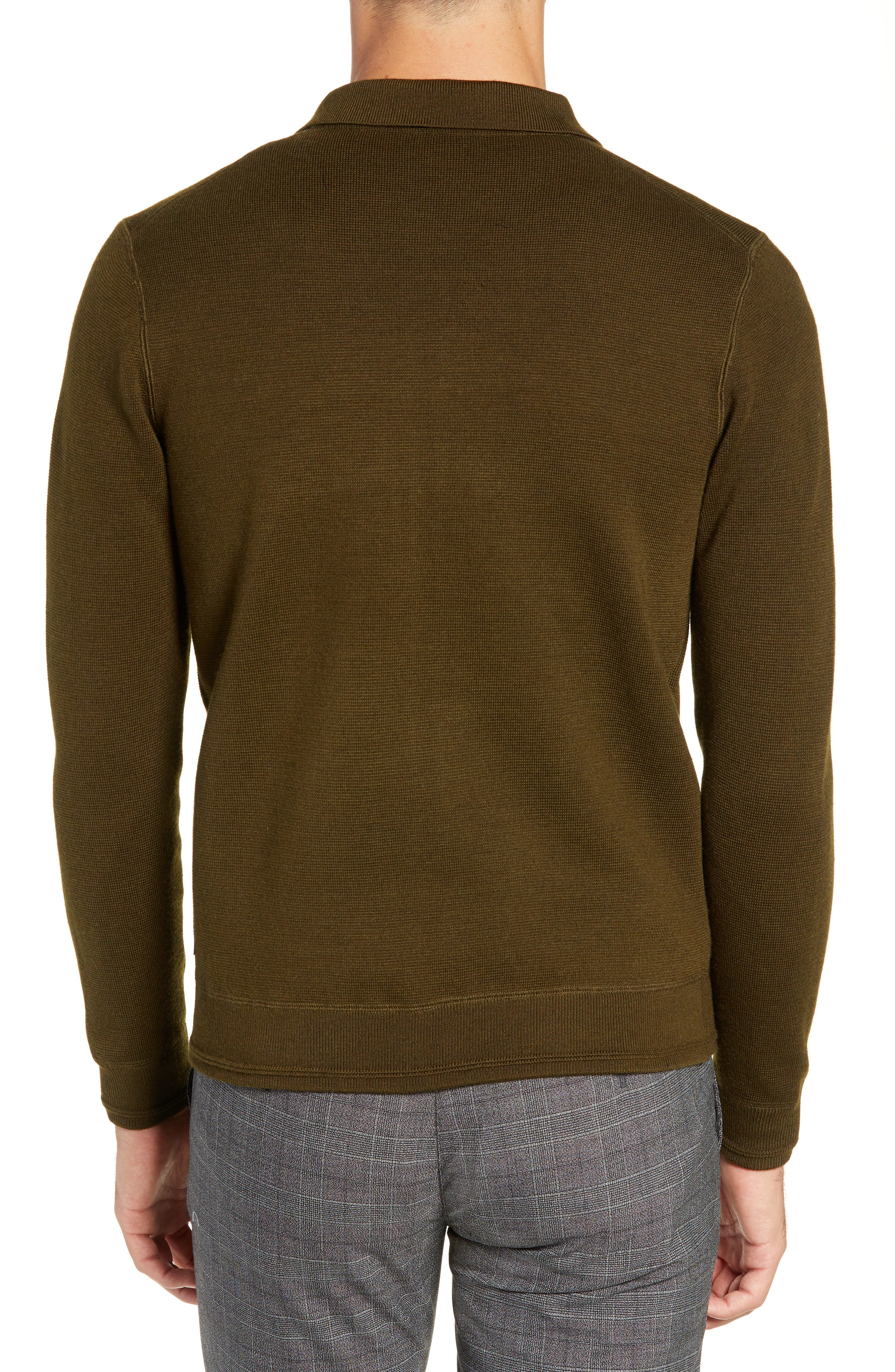 Akwa Slim Fit Zip Wool Blend Sweater,                             Alternate thumbnail 2, color,                             KHAKI