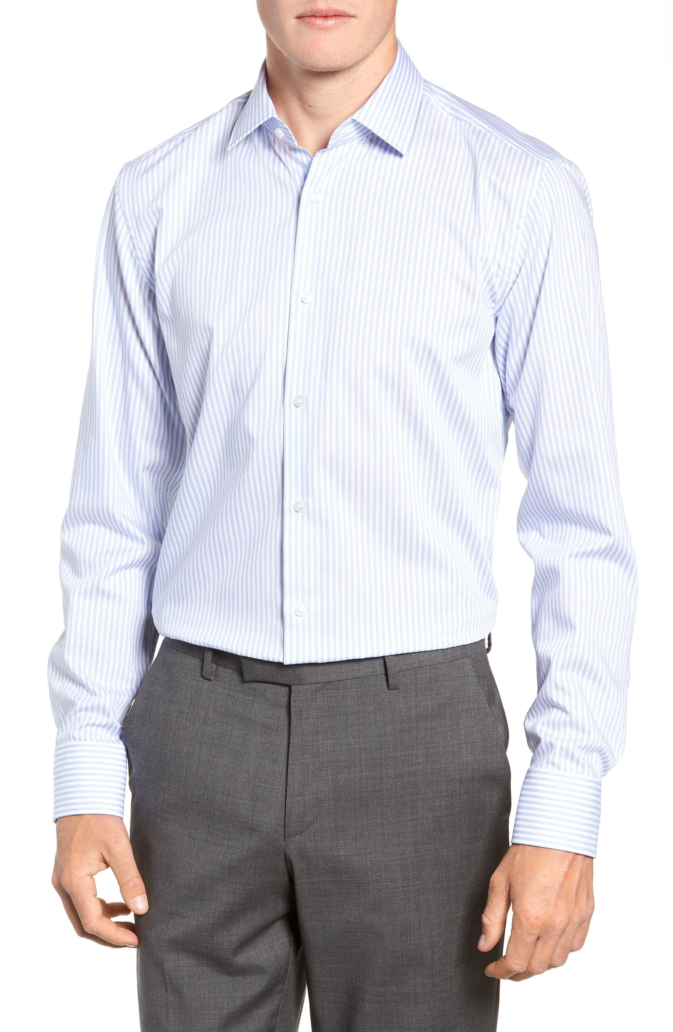 Jenno Trim Fit Stripe Dress Shirt,                         Main,                         color, BLUE