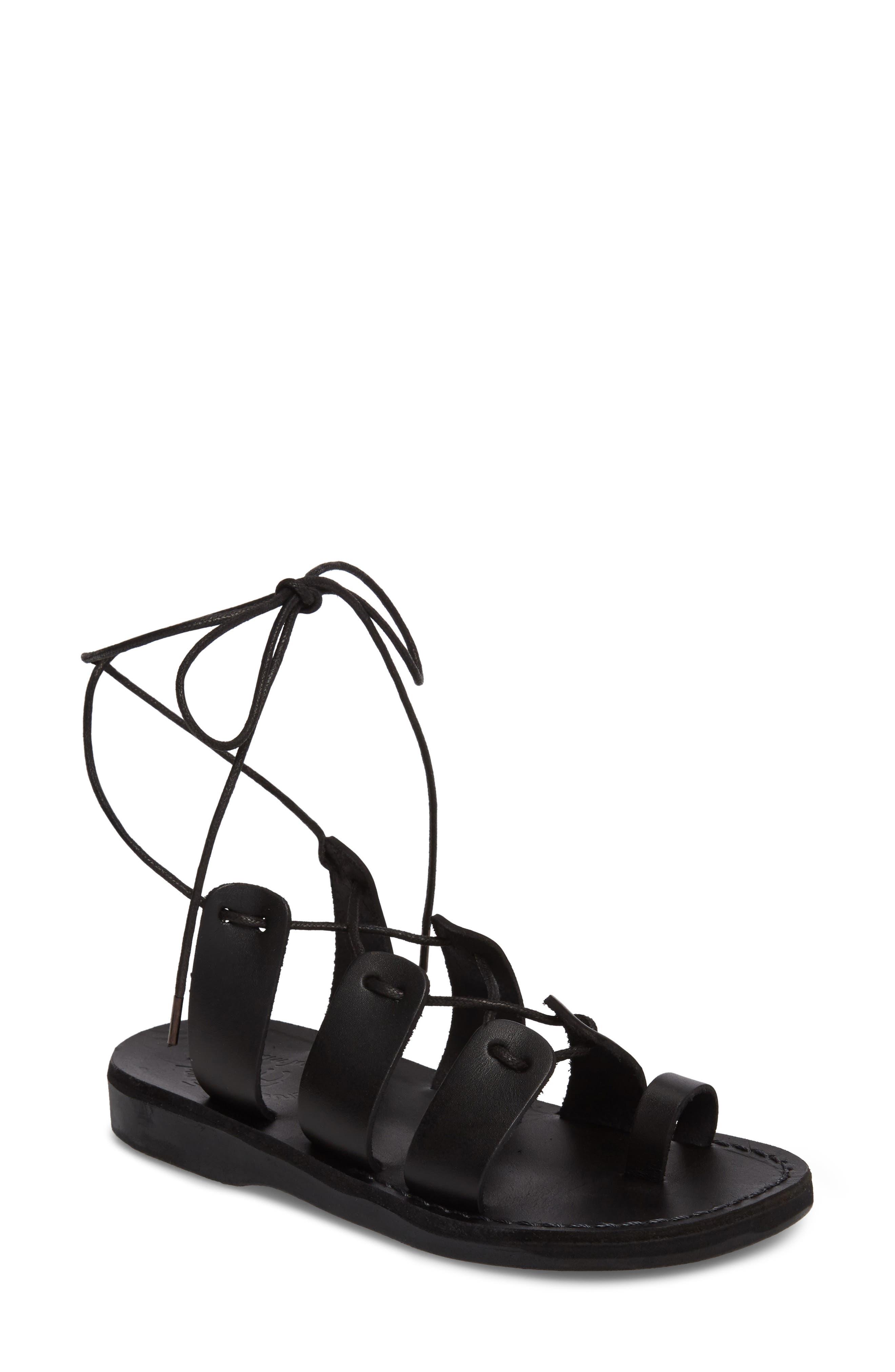 Deborah Wraparound Laces Sandal,                             Main thumbnail 1, color,                             BLACK LEATHER