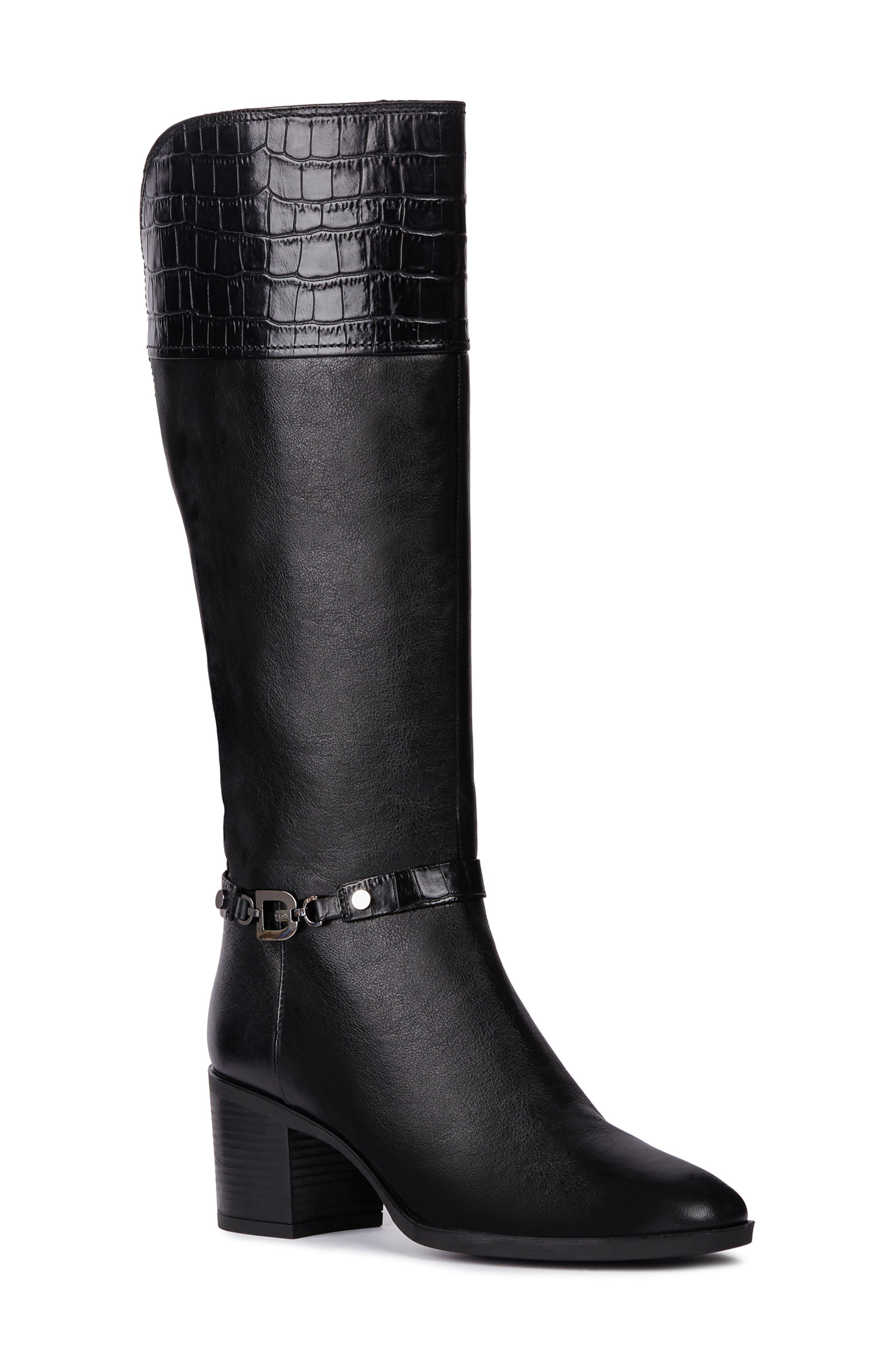 Glynna Knee High Boot,                             Main thumbnail 1, color,                             BLACK/ BLACK LEATHER