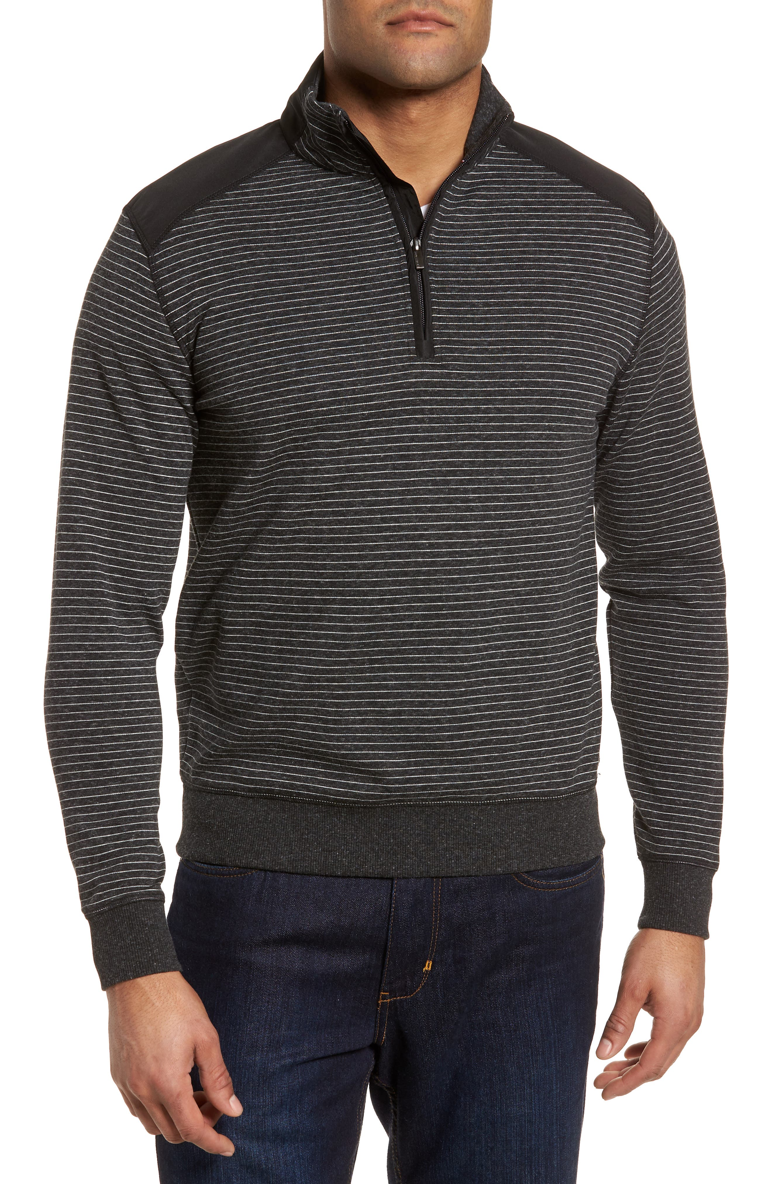 Regular Fit Stripe Quarter Zip Pullover,                             Main thumbnail 2, color,
