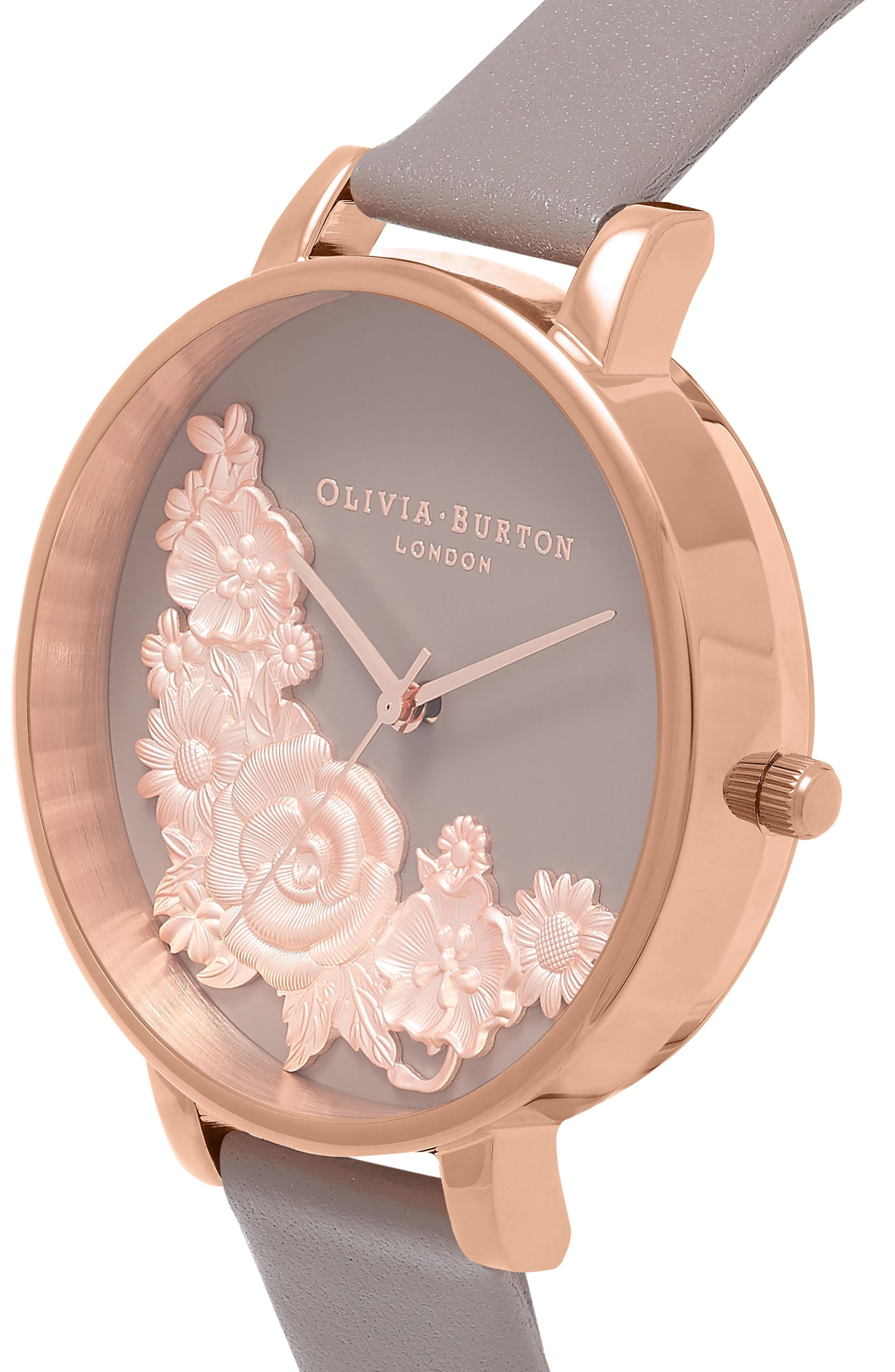 Floral Bouquet Leather Strap Watch, 38mm,                             Alternate thumbnail 5, color,                             LONDON GREY/ GREY/ ROSE GOLD