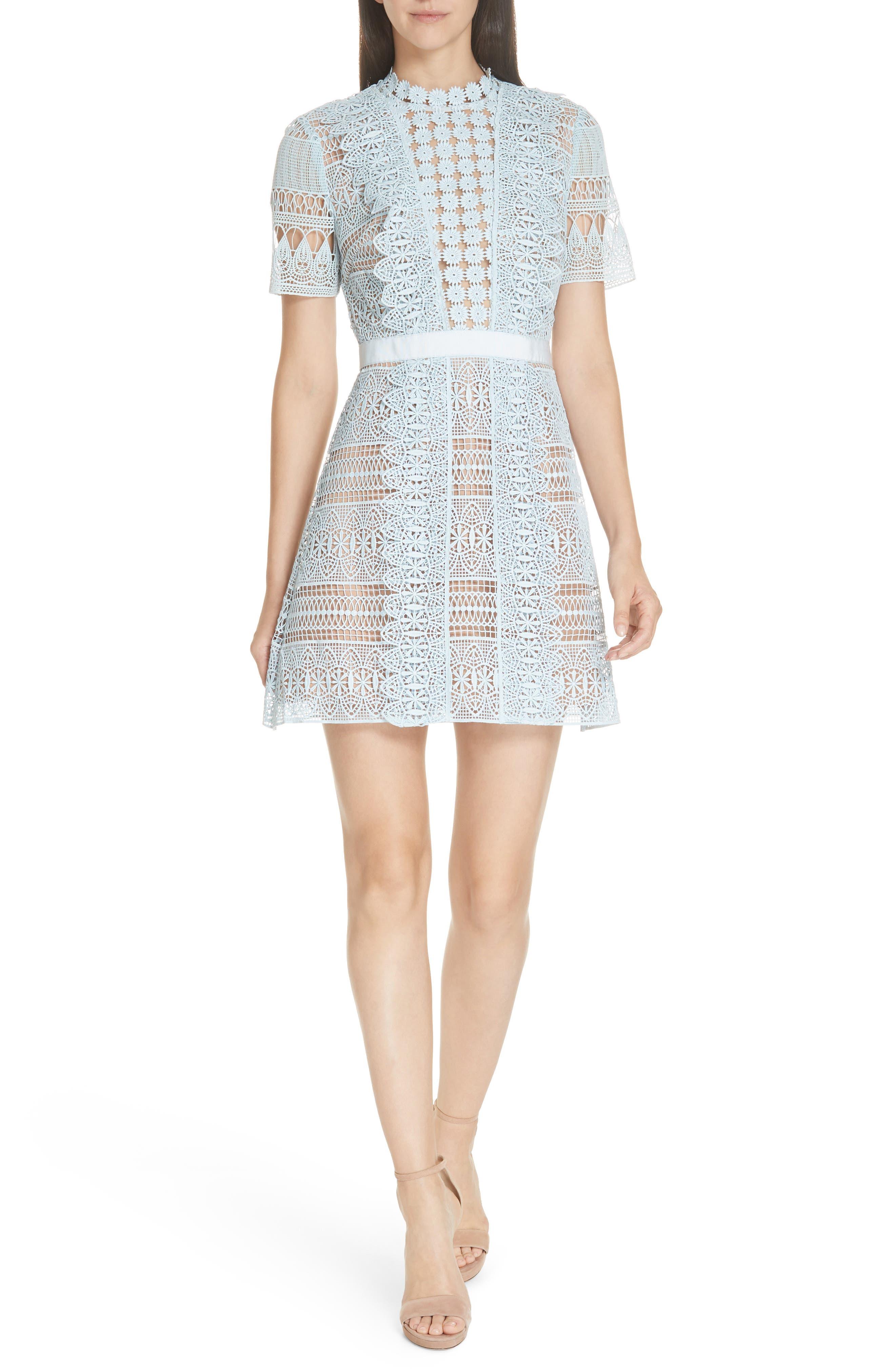 SELF-PORTRAIT,                             Lace A-Line Minidress,                             Main thumbnail 1, color,                             BLUE