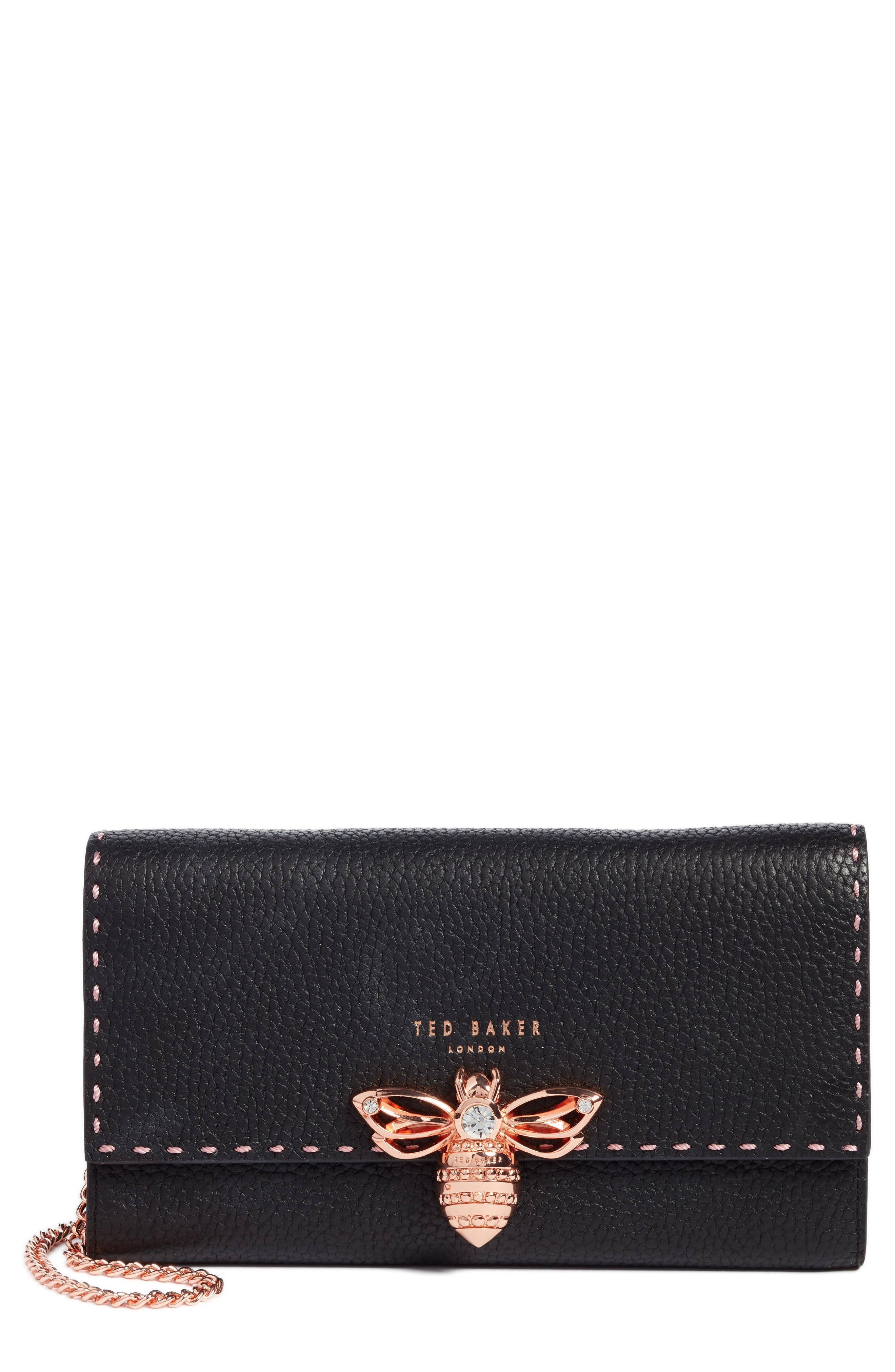 Janese Bee Embellished Matinée Wallet,                             Main thumbnail 1, color,                             001