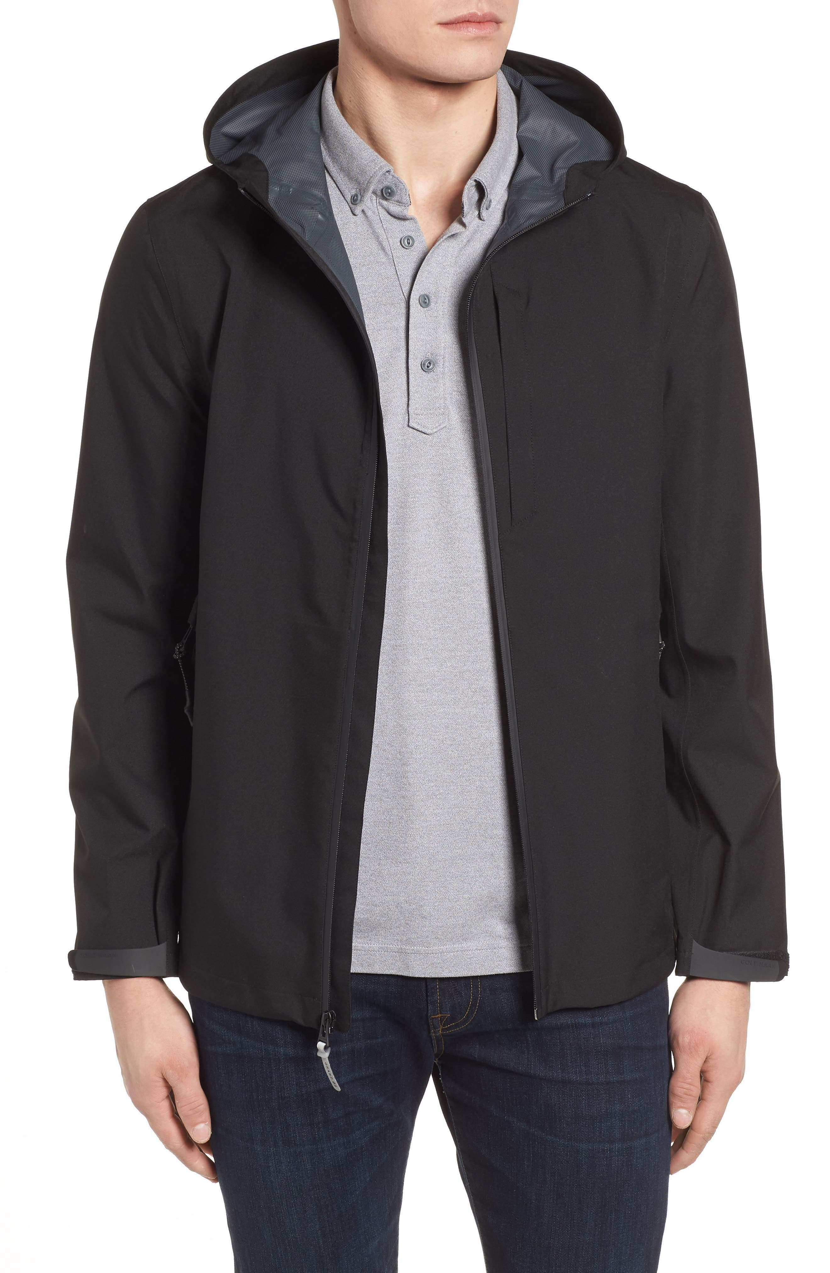 Seam Sealed Packable Jacket,                         Main,                         color, BLACK