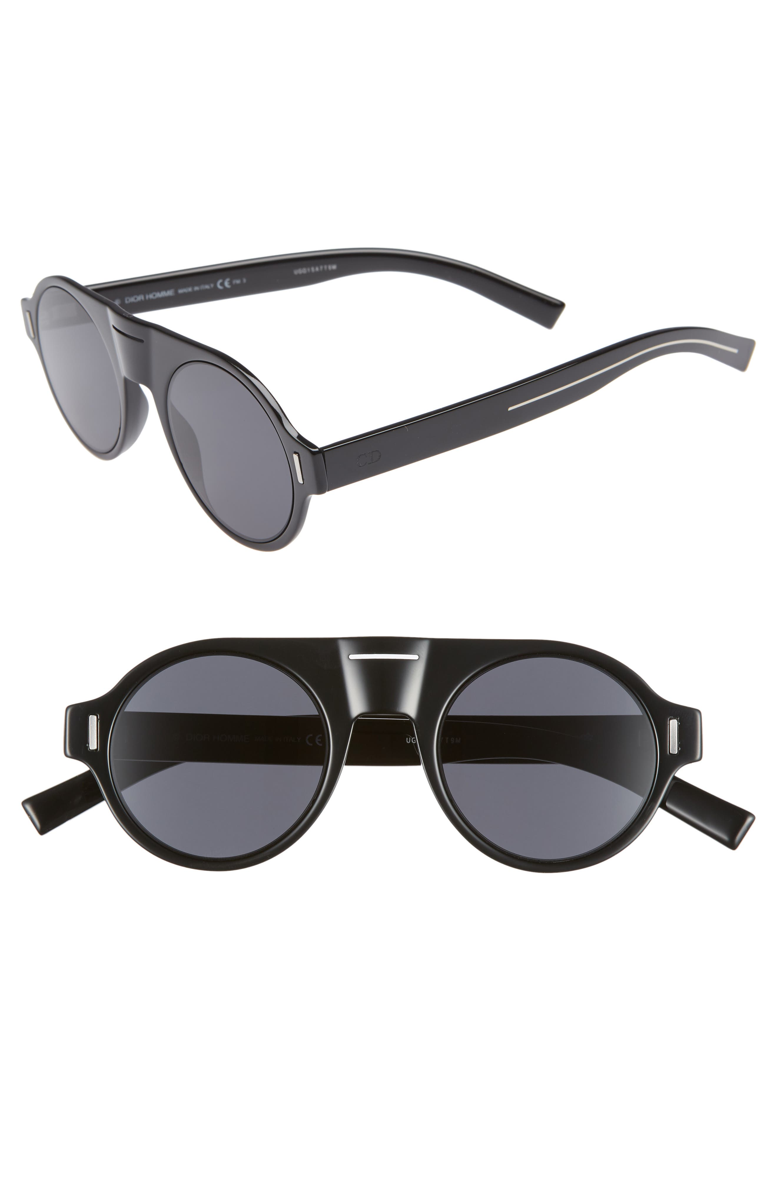 47mm Round Sunglasses,                         Main,                         color, BLACK