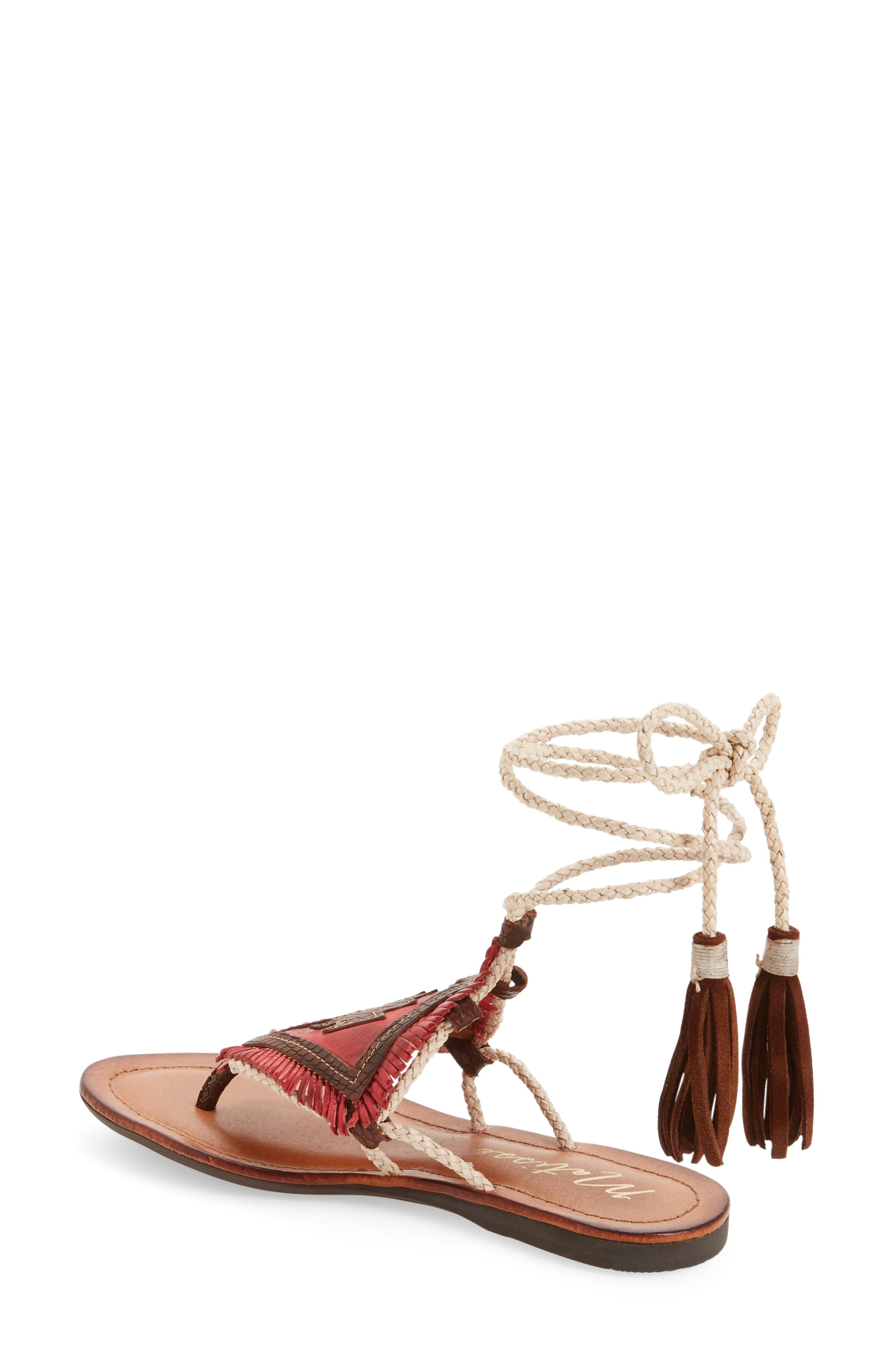 Bronte Tassel Lace-Up Sandal,                             Alternate thumbnail 4, color,