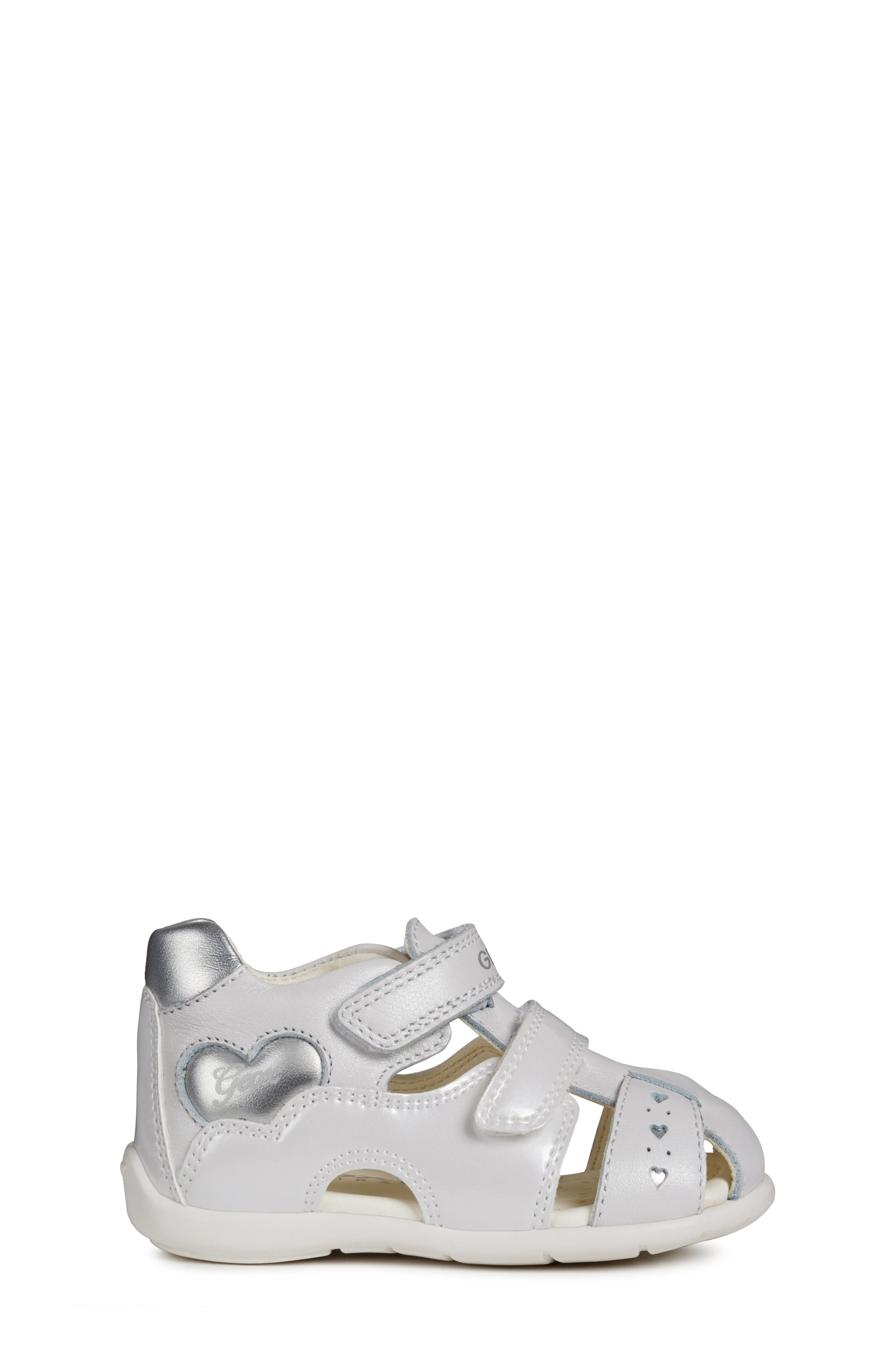 GEOX,                             Kaytan 52 Shimmery Sandal,                             Alternate thumbnail 3, color,                             WHITE/ SILVER