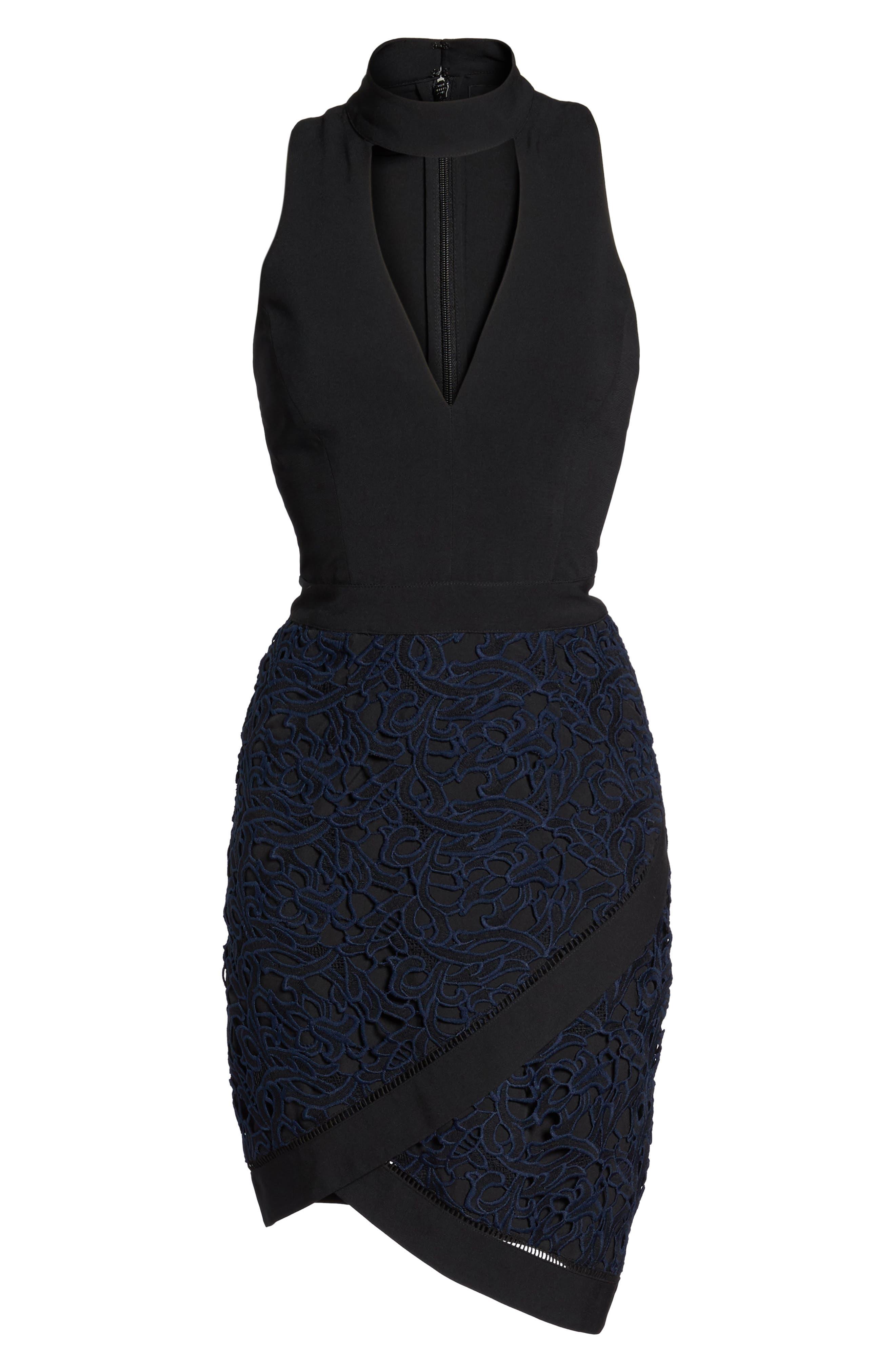 Choker Sheath Dress,                             Alternate thumbnail 6, color,                             001