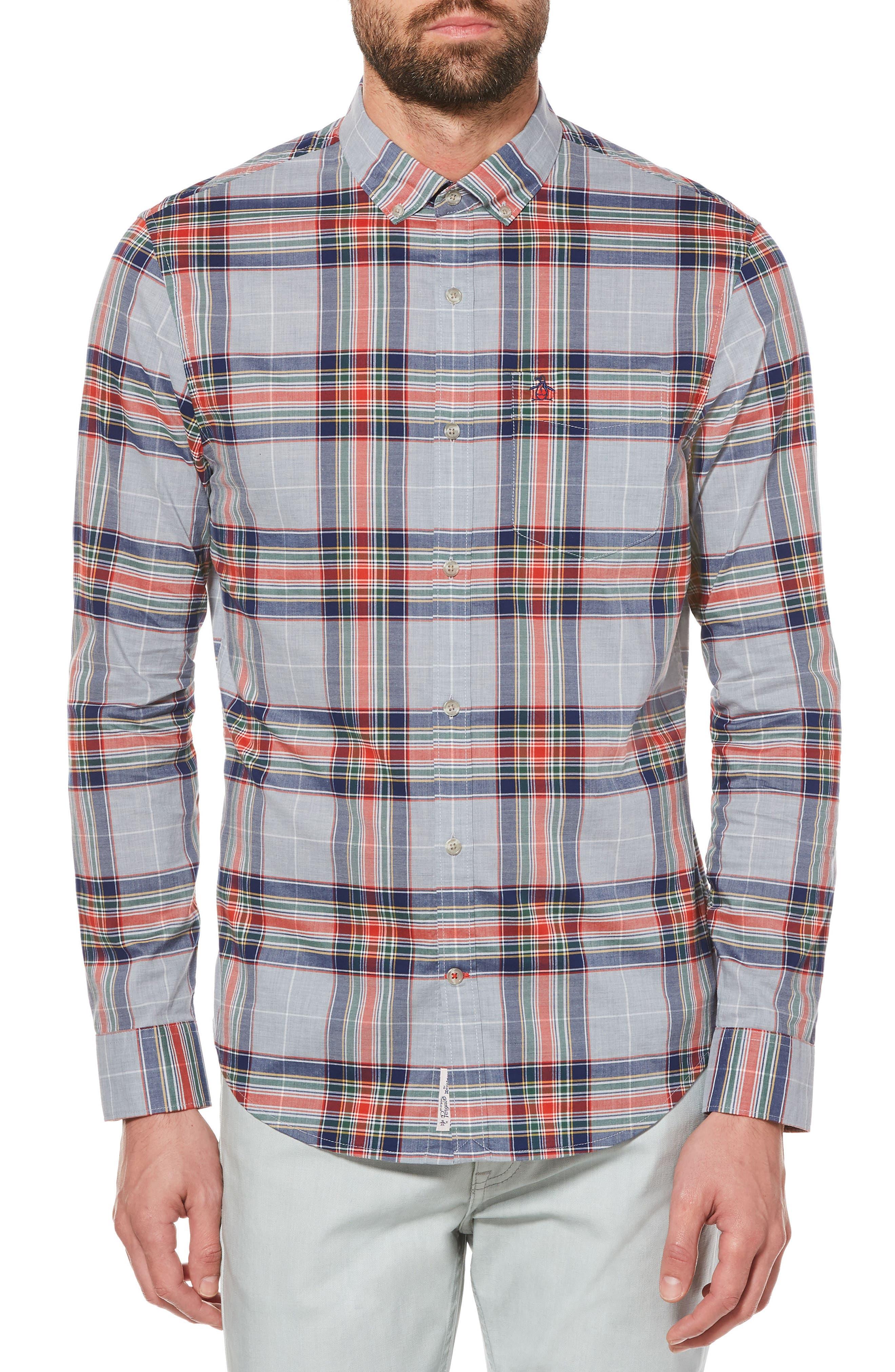 P55 Heritage Slim Fit Plaid Shirt,                             Main thumbnail 1, color,